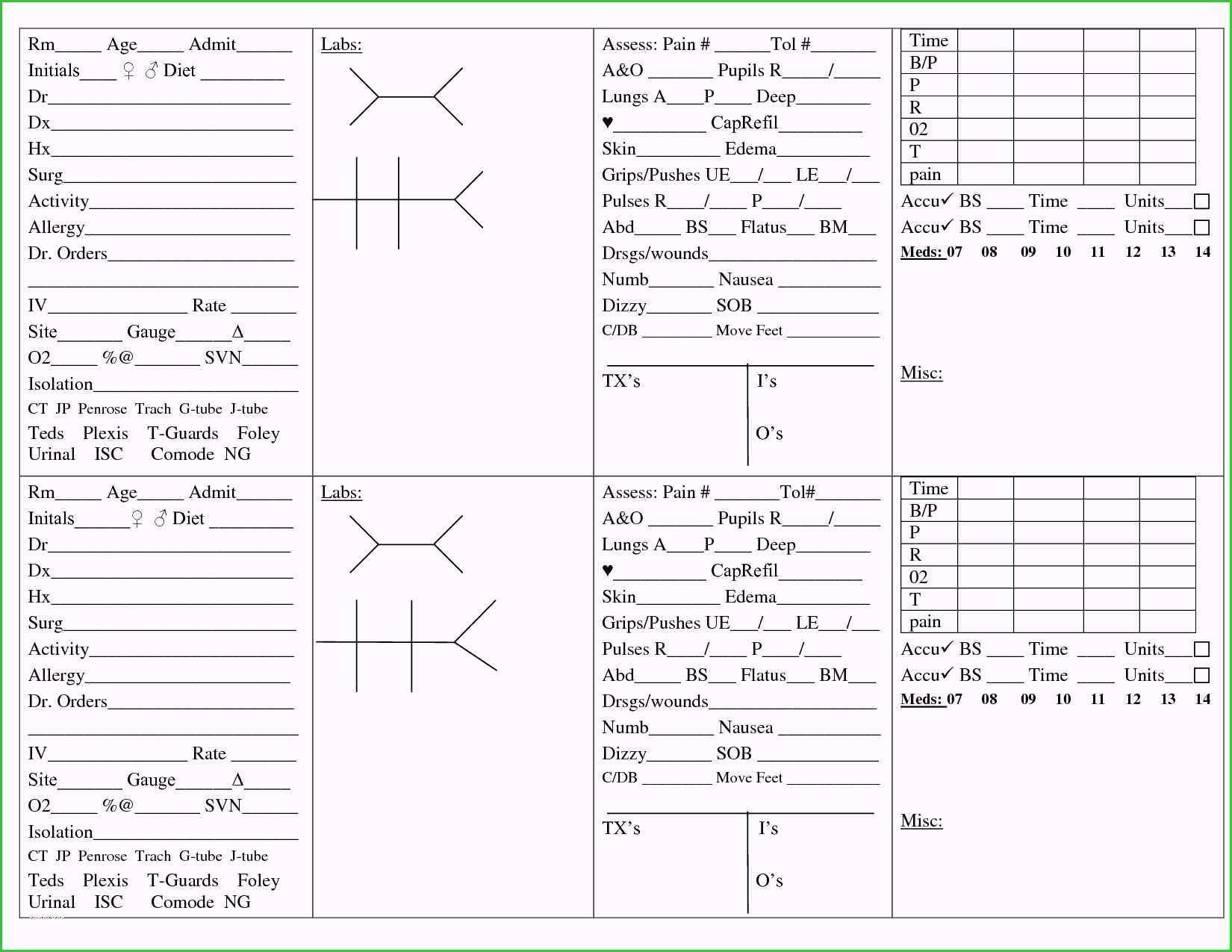 Med Sheet Template - Karati.ald2014 Inside Med Surg Report Sheet Templates