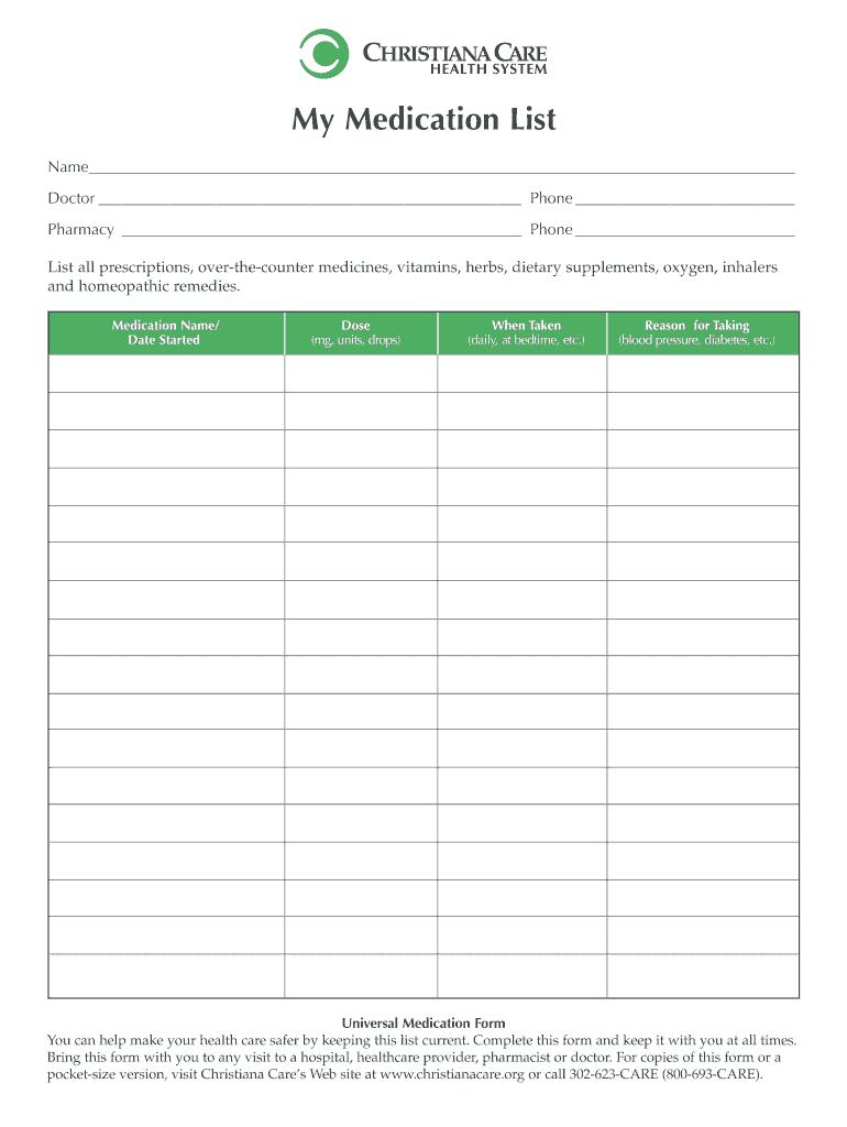 Medication List Form Template - Karati.ald2014 For Blank Medication List Templates