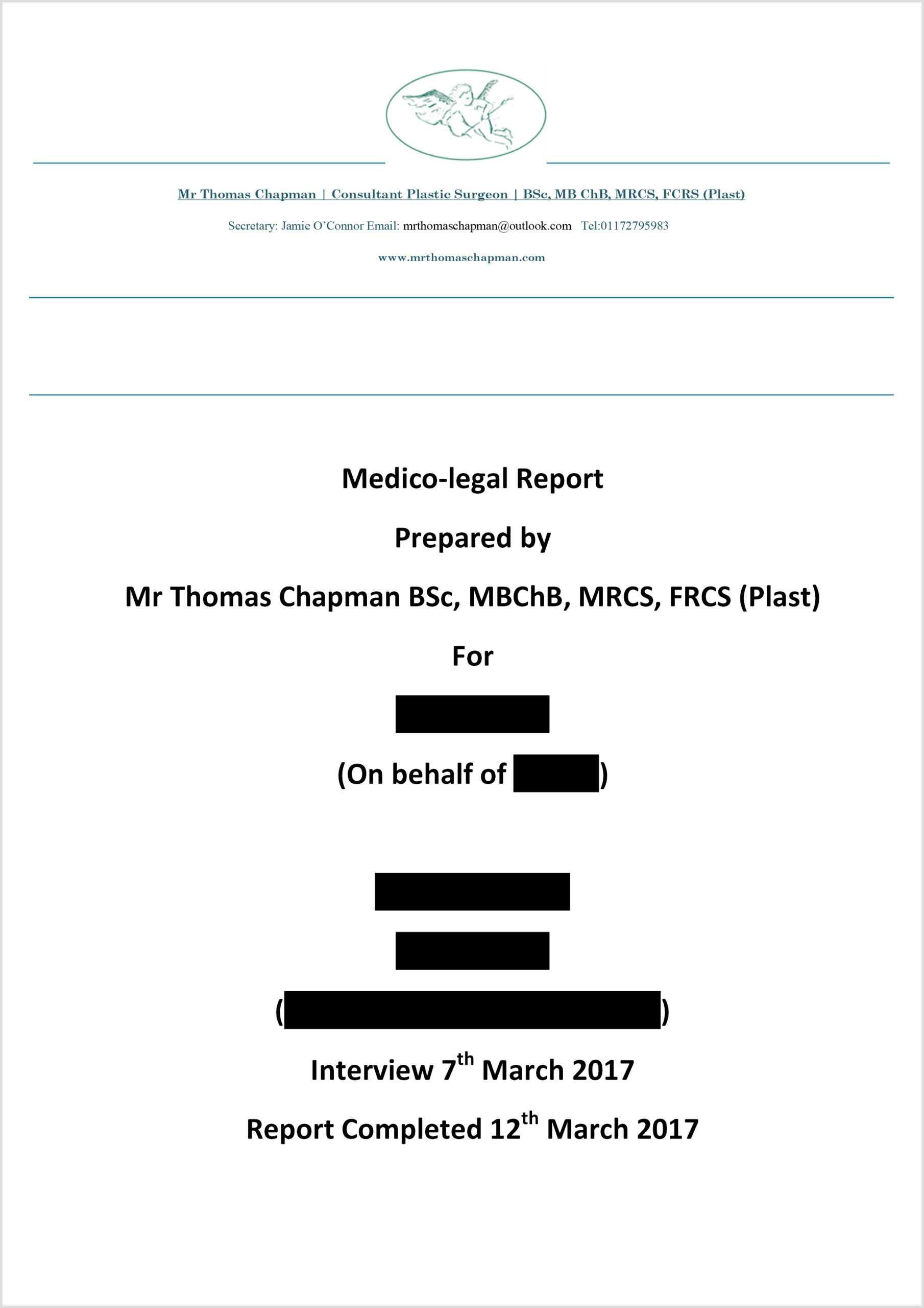 Medicolegal Reporting - Mr Thomas Chapman In Medical Legal Report Template