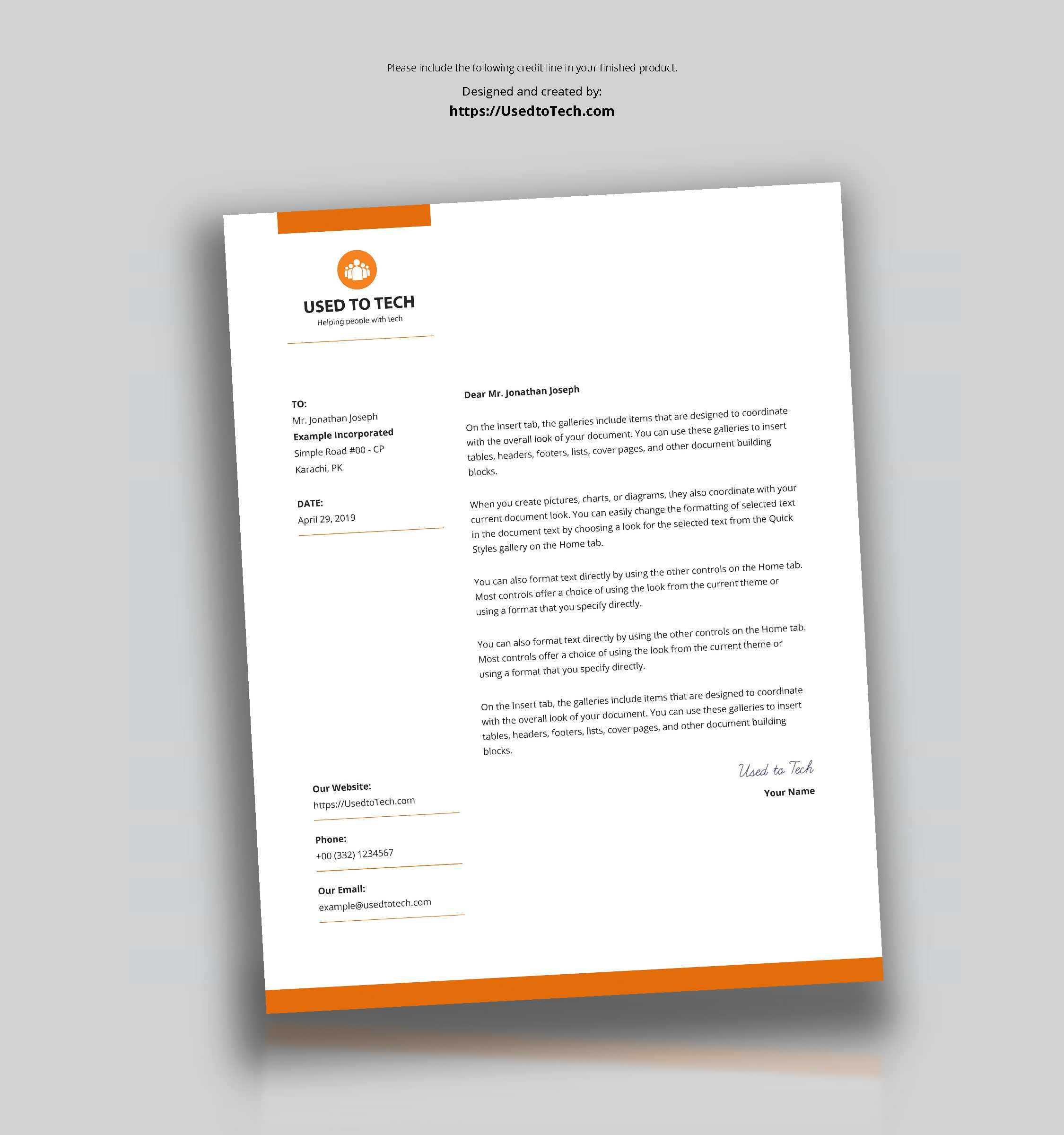 Modern Letterhead Template In Microsoft Word Free - Used To Tech Pertaining To Word Stationery Template Free