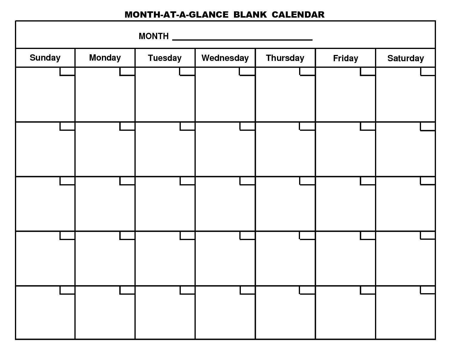Month At A Glance Blank Calendar   Monthly Printable Calender Throughout Month At A Glance Blank Calendar Template