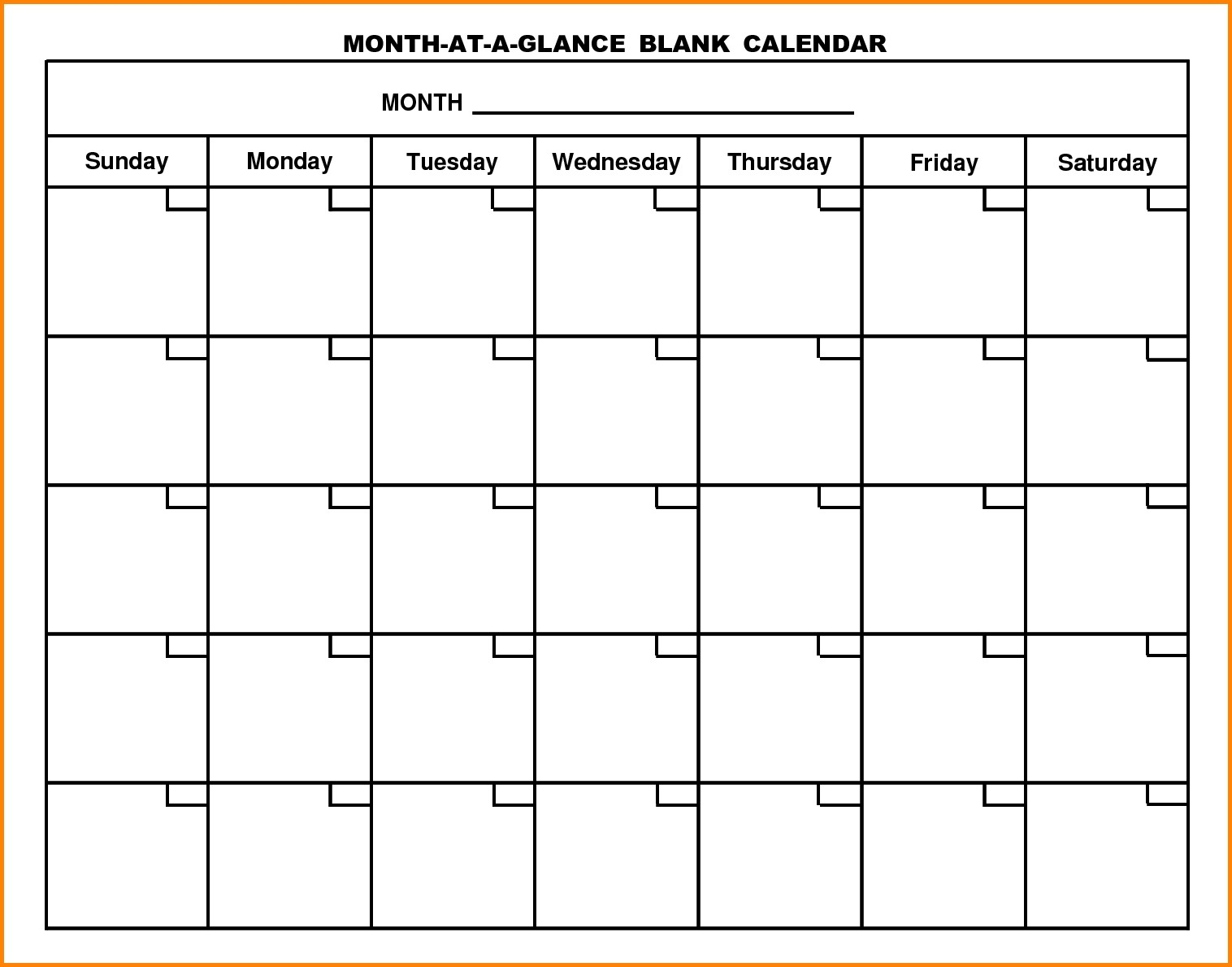 Month At A Glance Blank Calendar Printable   Monthly Inside Month At A Glance Blank Calendar Template