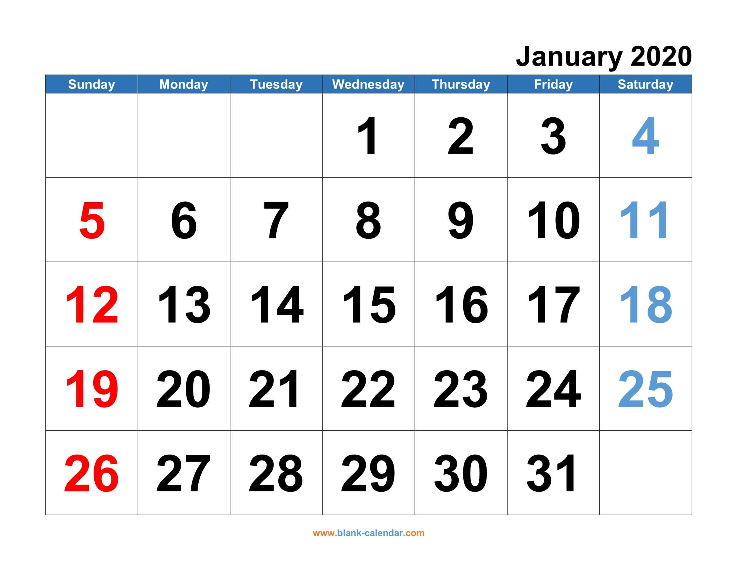 Monthly Calendar 2020   Free Download, Editable And Printable In Blank One Month Calendar Template