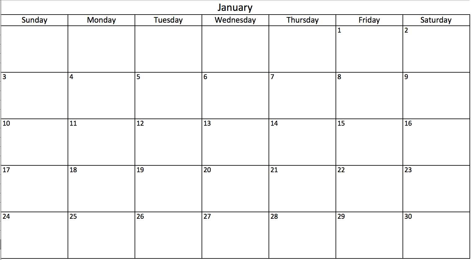 Monthly Calendar In Excel Pertaining To Blank One Month Calendar Template