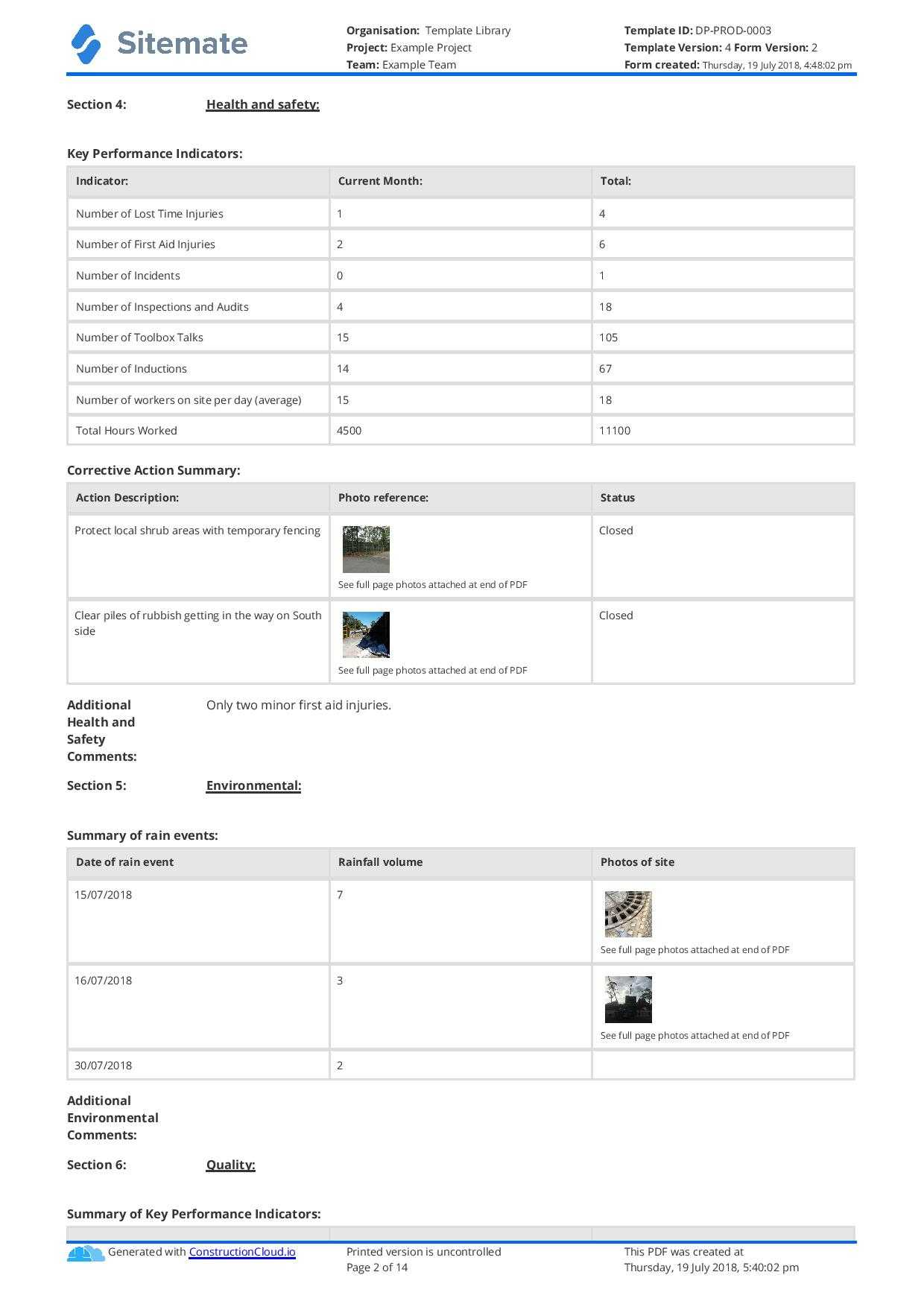 Monthly Construction Progress Report Template: Use This In Site Progress Report Template