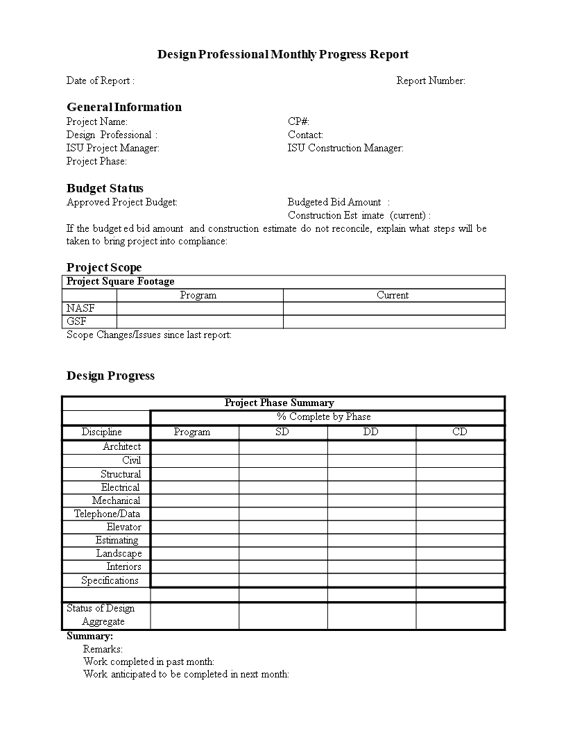 Monthly Progress Report In Word | Templates At Throughout Activity Report Template Word