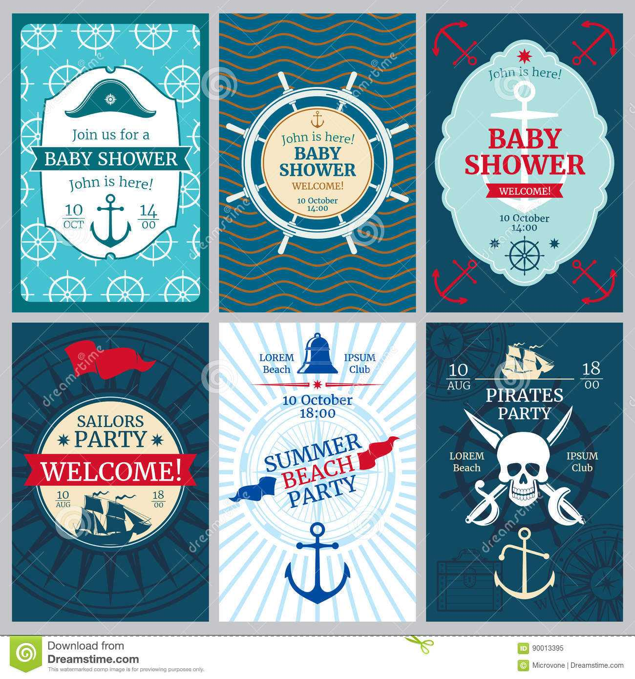Nautical Baby Shower, Birthday, Beach Party Vector Within Nautical Banner Template