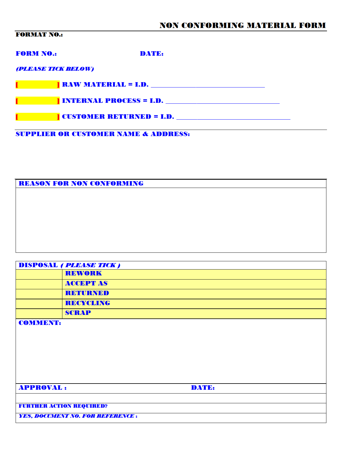 Non Conforming Material Form – With Non Conformance Report Form Template