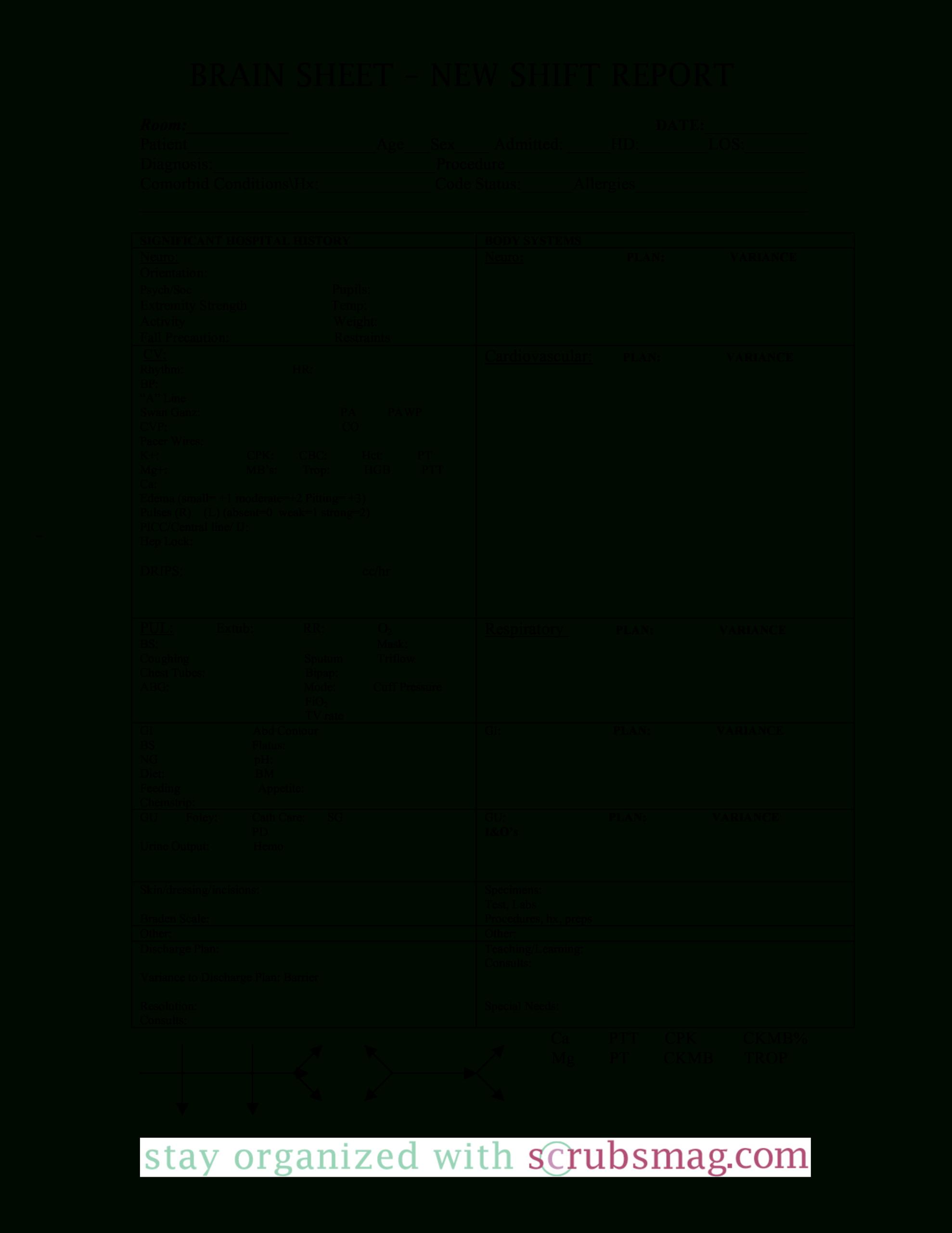 Nursing Brain Report Sheet   Templates At Within Nursing Report Sheet Templates