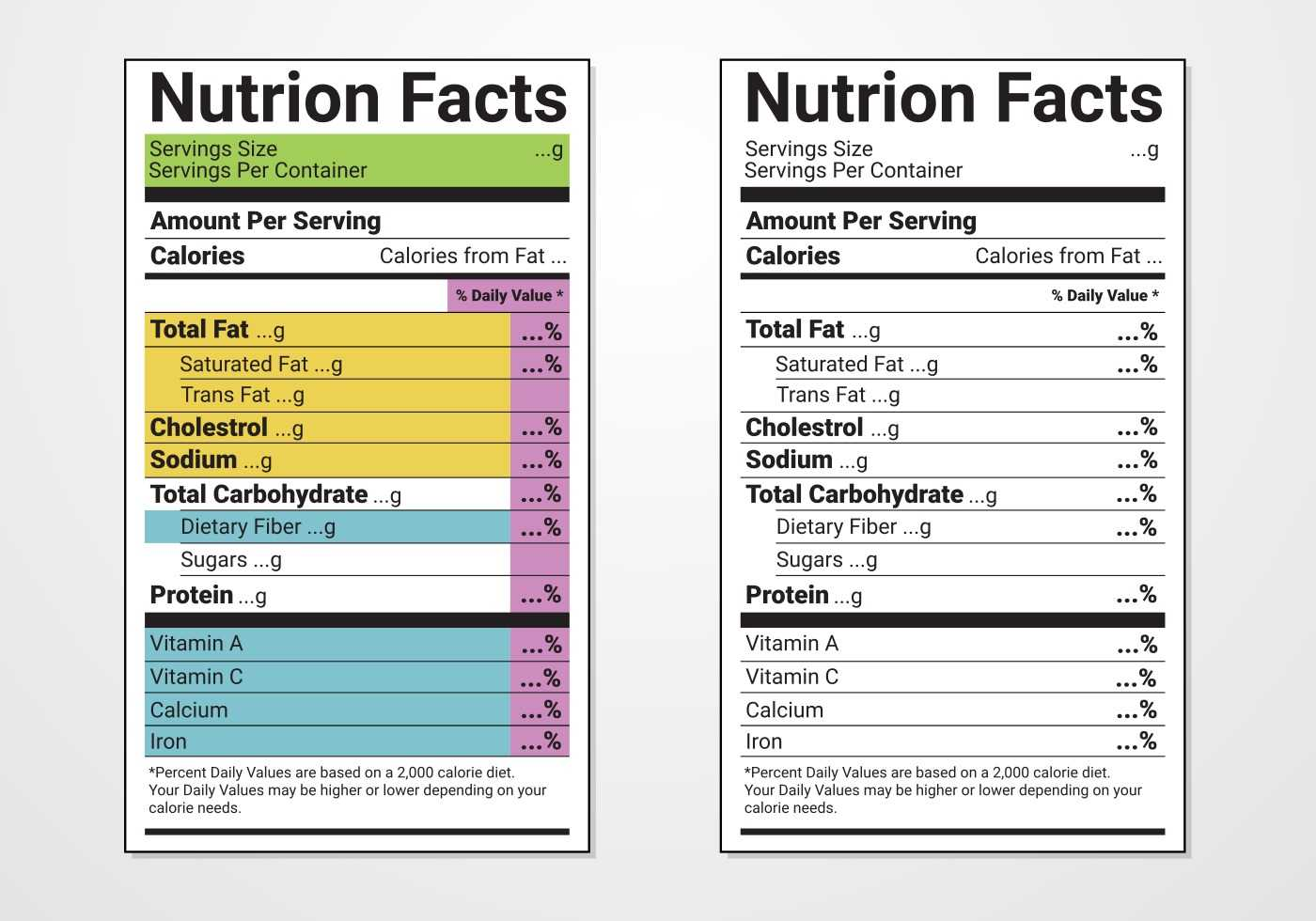 Nutrition Facts Label Vector Templates - Download Free Inside Nutrition Label Template Word