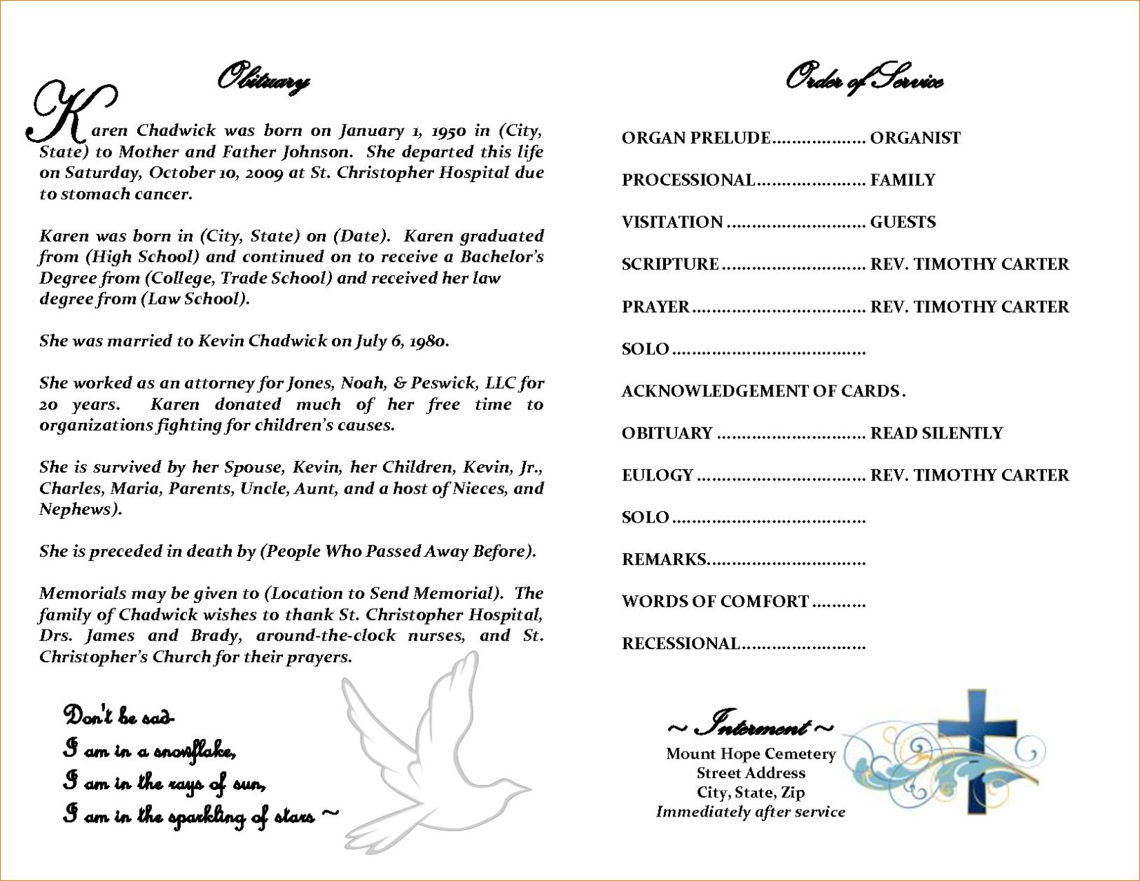 Obit Template - Karati.ald2014 Pertaining To Free Obituary Template For Microsoft Word