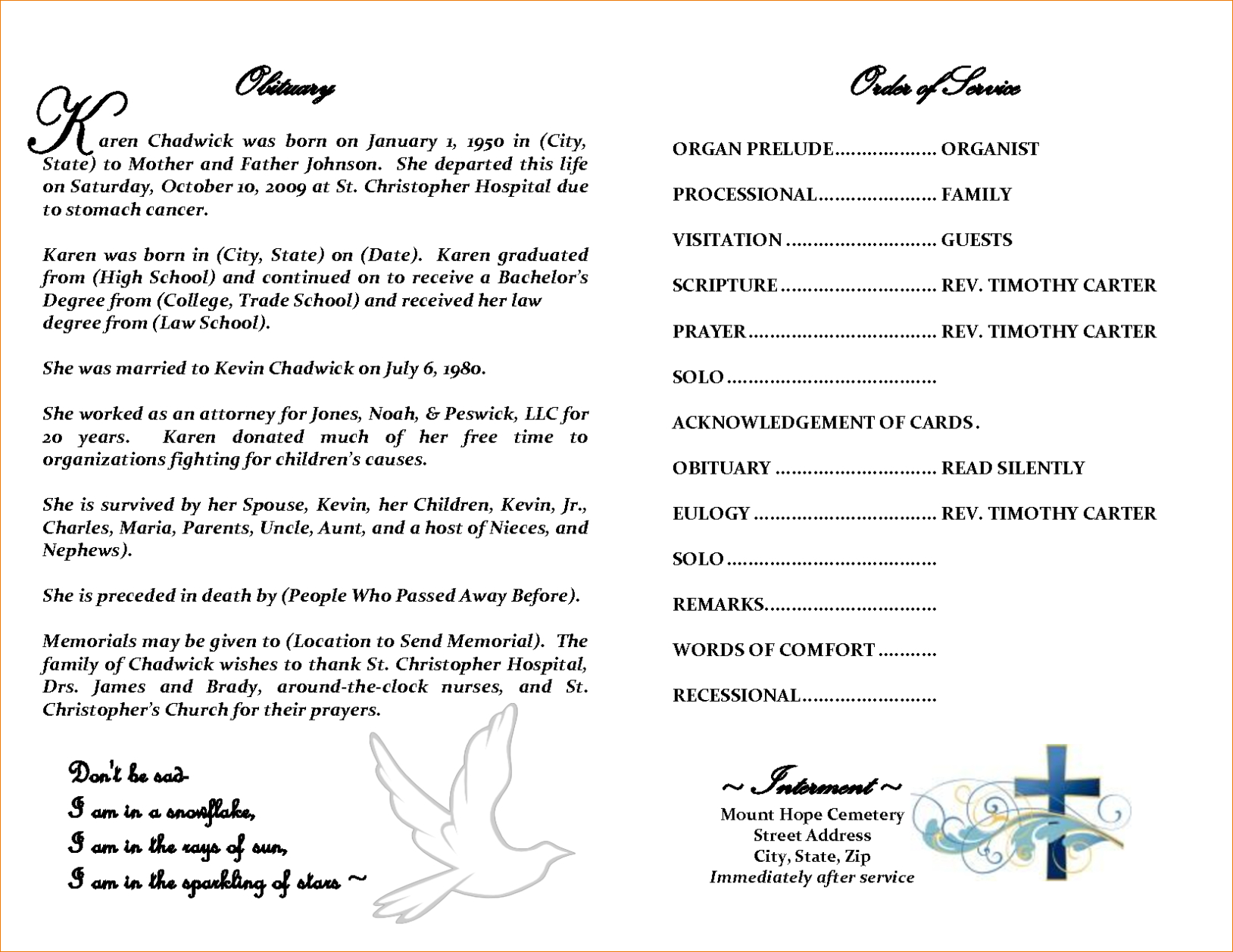 Obituary Template Word Document Professional Plan Templates