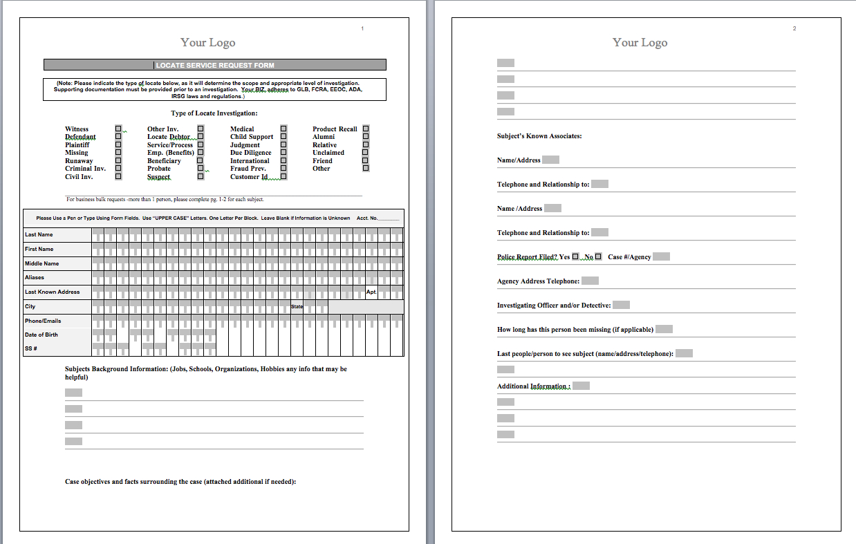 P.i. Forms – Pitraininghq Throughout Private Investigator Surveillance Report Template