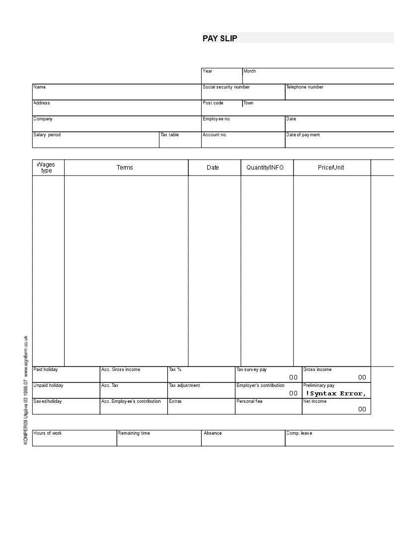 Payslip Template | Templates At Allbusinesstemplates For Blank Payslip Template