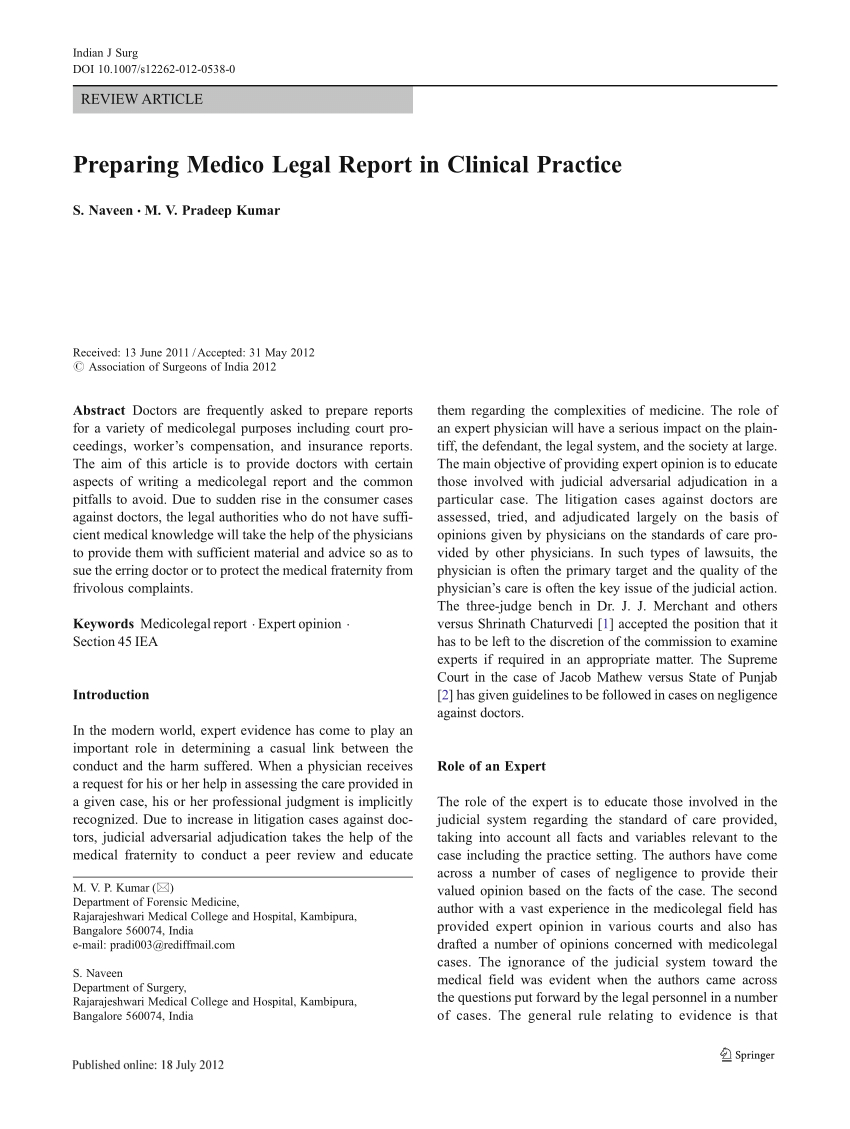 Pdf) Preparing Medico Legal Report In Clinical Practice Regarding Medical Legal Report Template