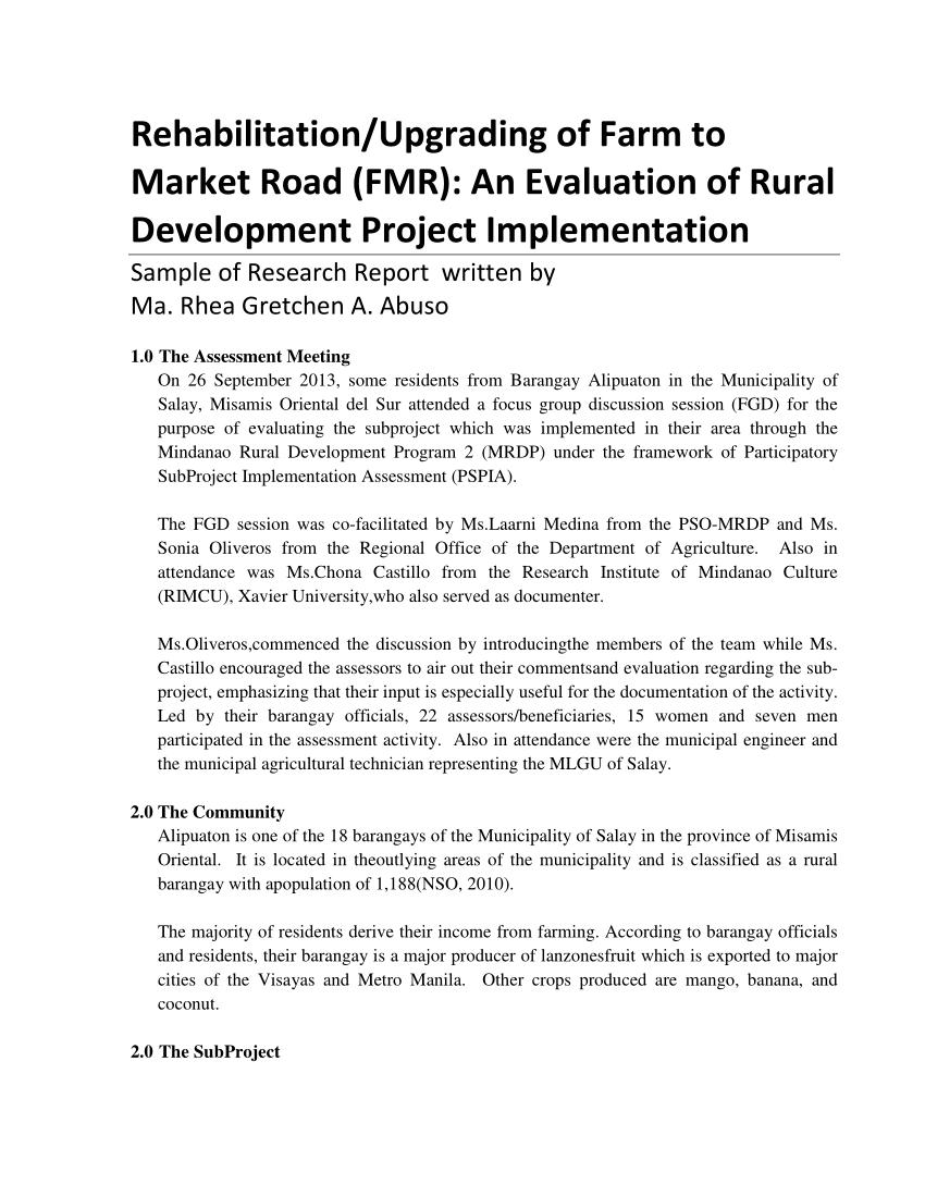 Pdf) Rehabilitation/upgrading Of Farm To Market Road (Fmr Regarding Focus Group Discussion Report Template