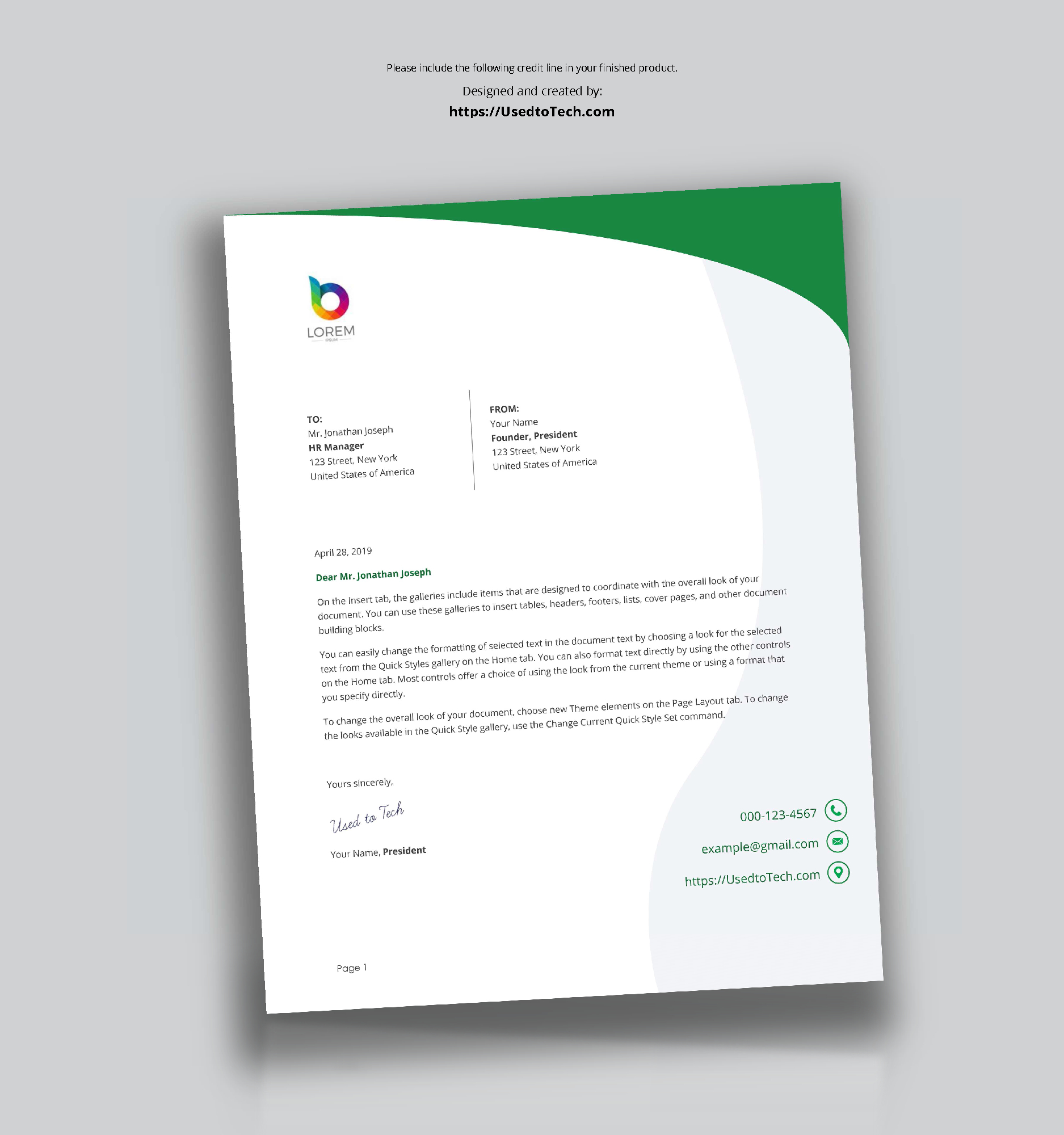 Perfect Letterhead Design In Word Free - Used To Tech With Free Letterhead Templates For Microsoft Word