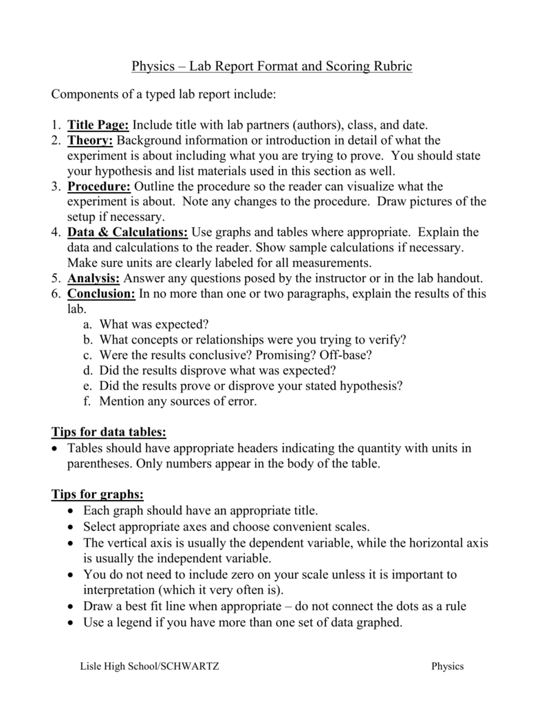 Physics Lab Template - Raptor.redmini.co For Physics Lab Within Physics Lab Report Template