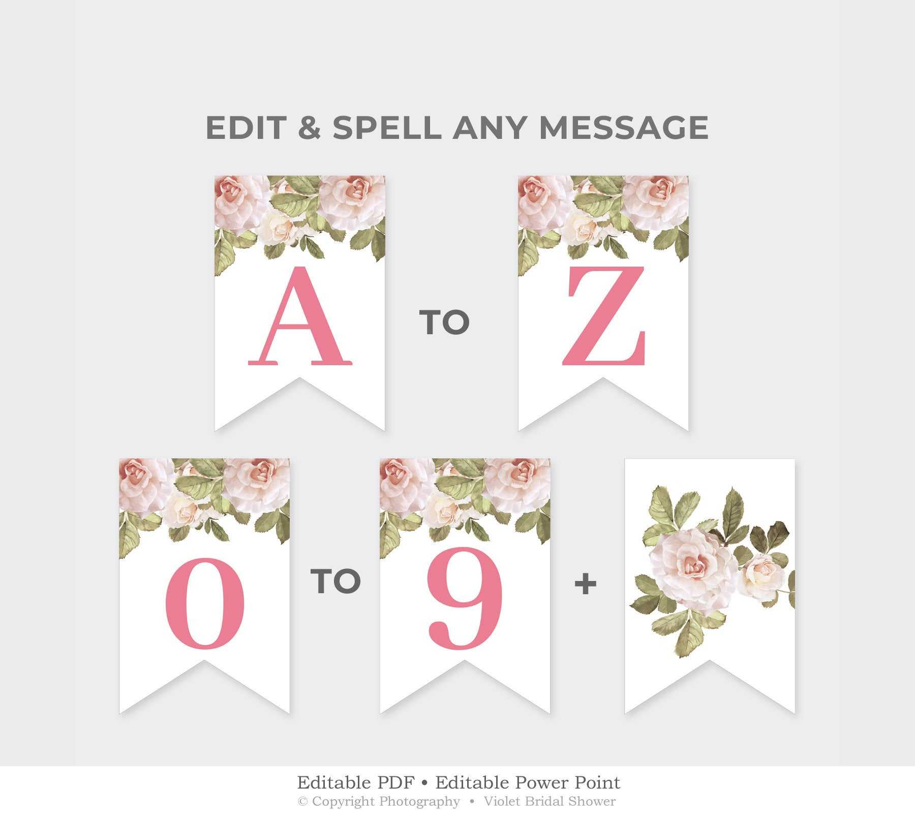 Pink Roses Party Banner Template, Printable Blush Pink Floral Pennant,  Rustic Bridal Shower Banner, Custom Banner Instant Download Fbrs27 With Bridal Shower Banner Template