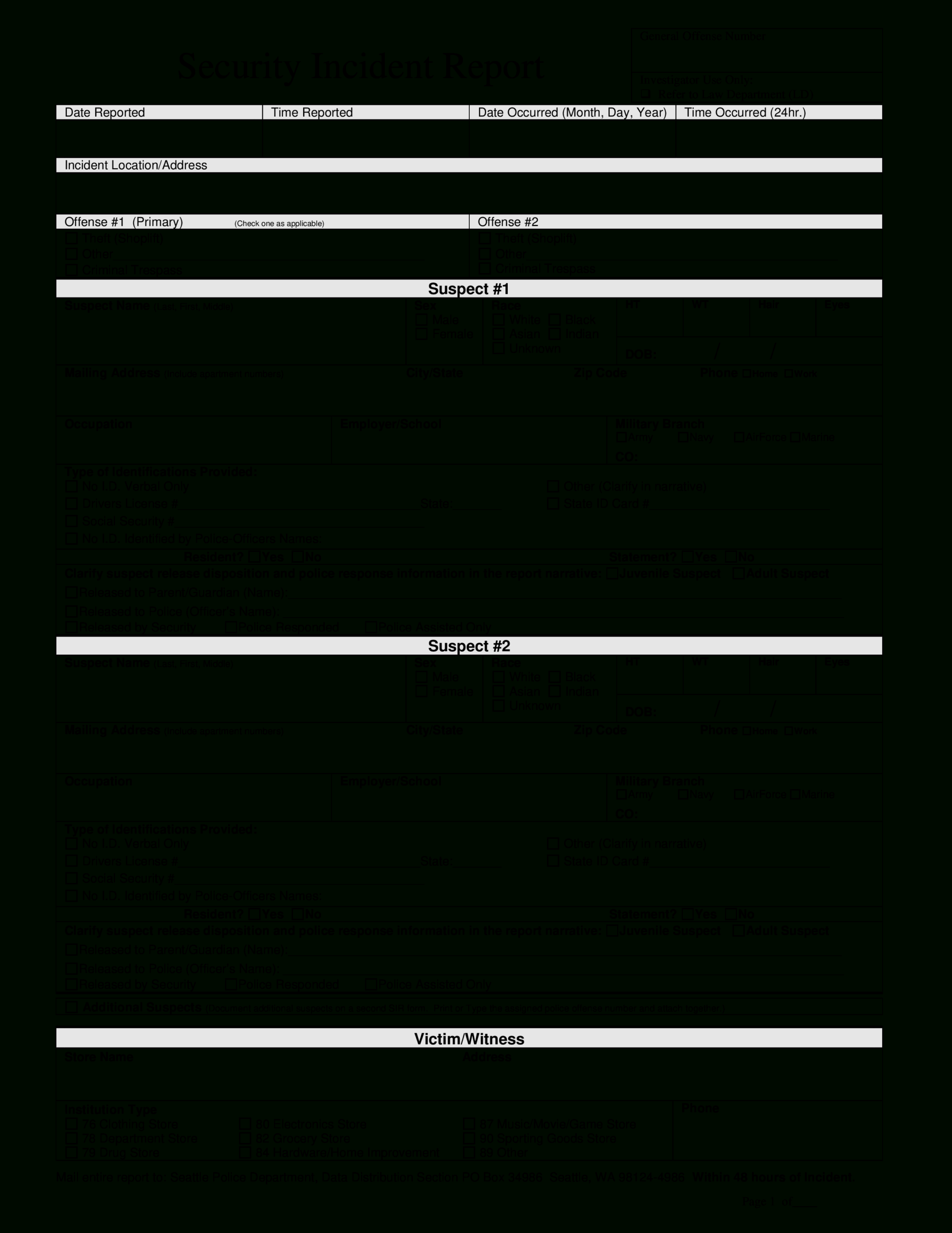 Police Incident Report | Templates At Allbusinesstemplates In Police Incident Report Template