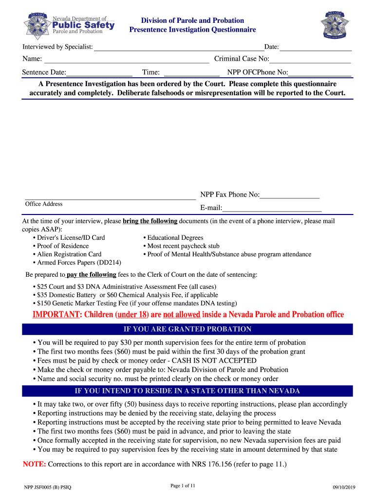 Presentence Investigation Report Template – Fill Online Intended For Presentence Investigation Report Template