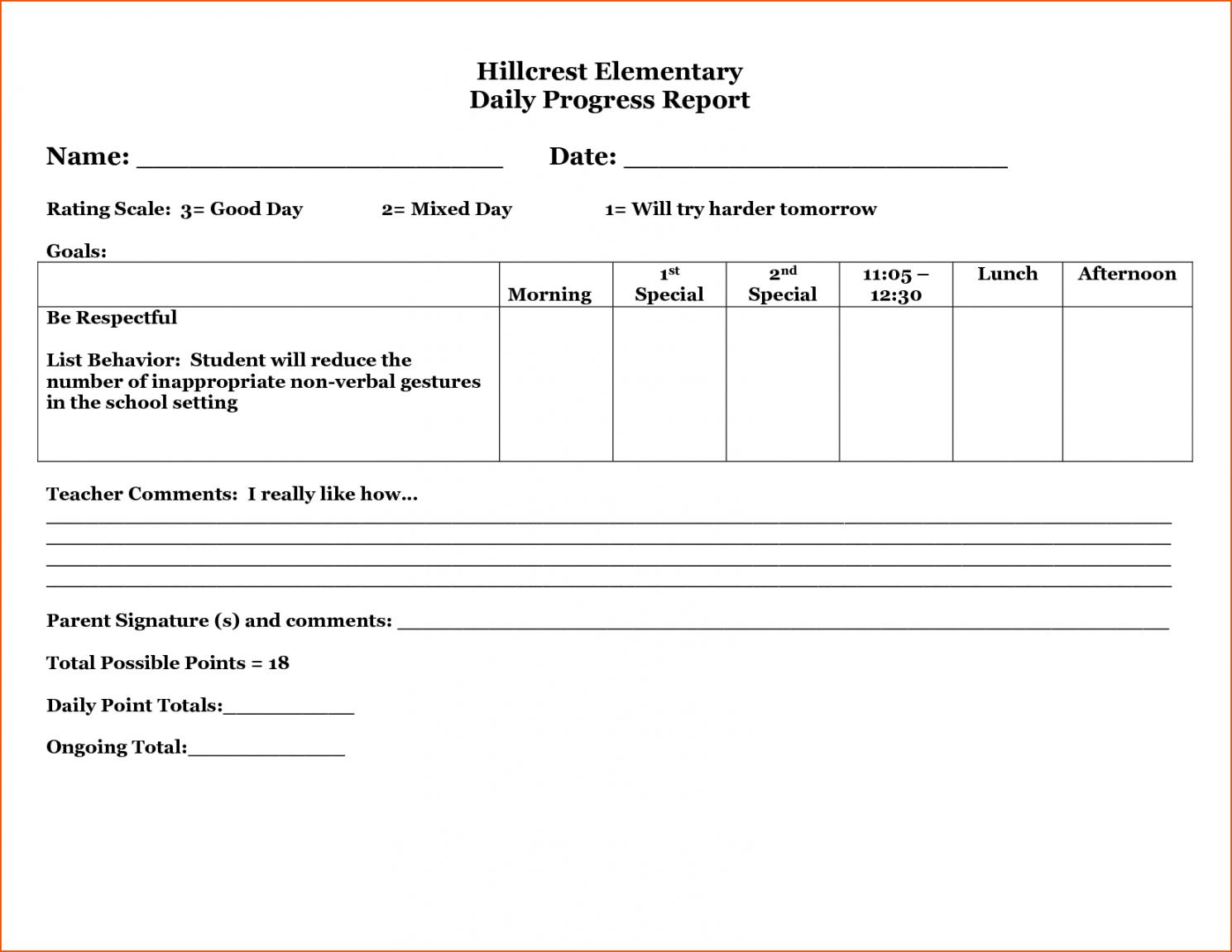 Printable 29 Images Of Student Behavior Progress Report With Student Progress Report Template
