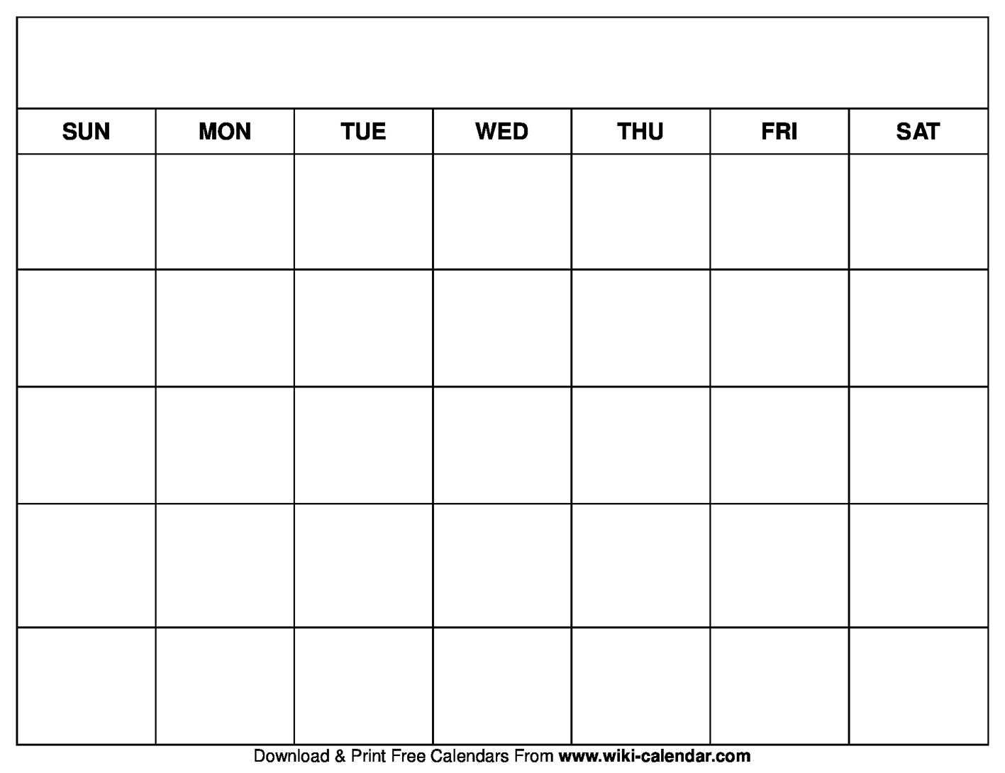 Printable Blank Calendar Templates With Regard To Blank Calander Template