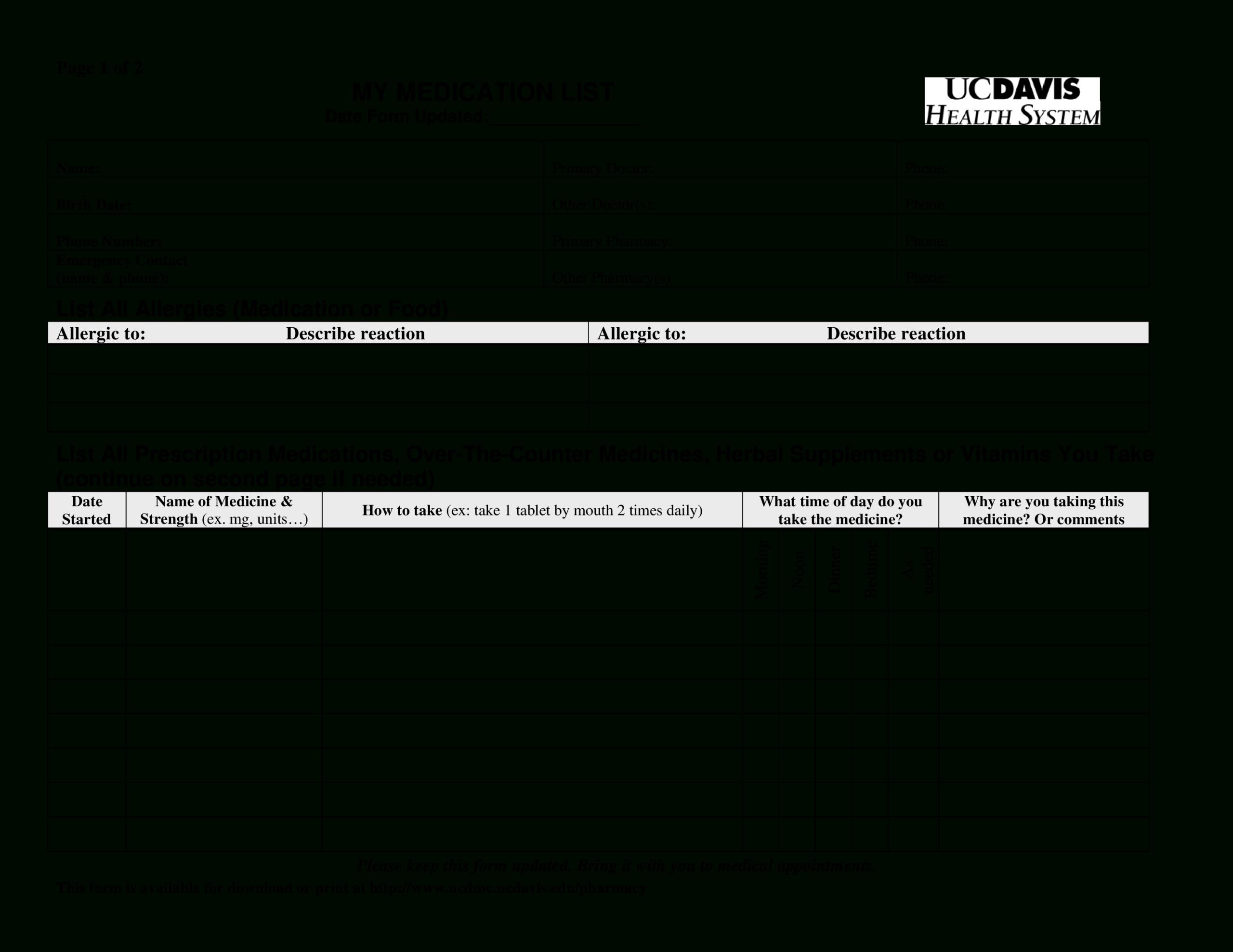 Printable Simple Medication List   Templates At With Blank Medication List Templates