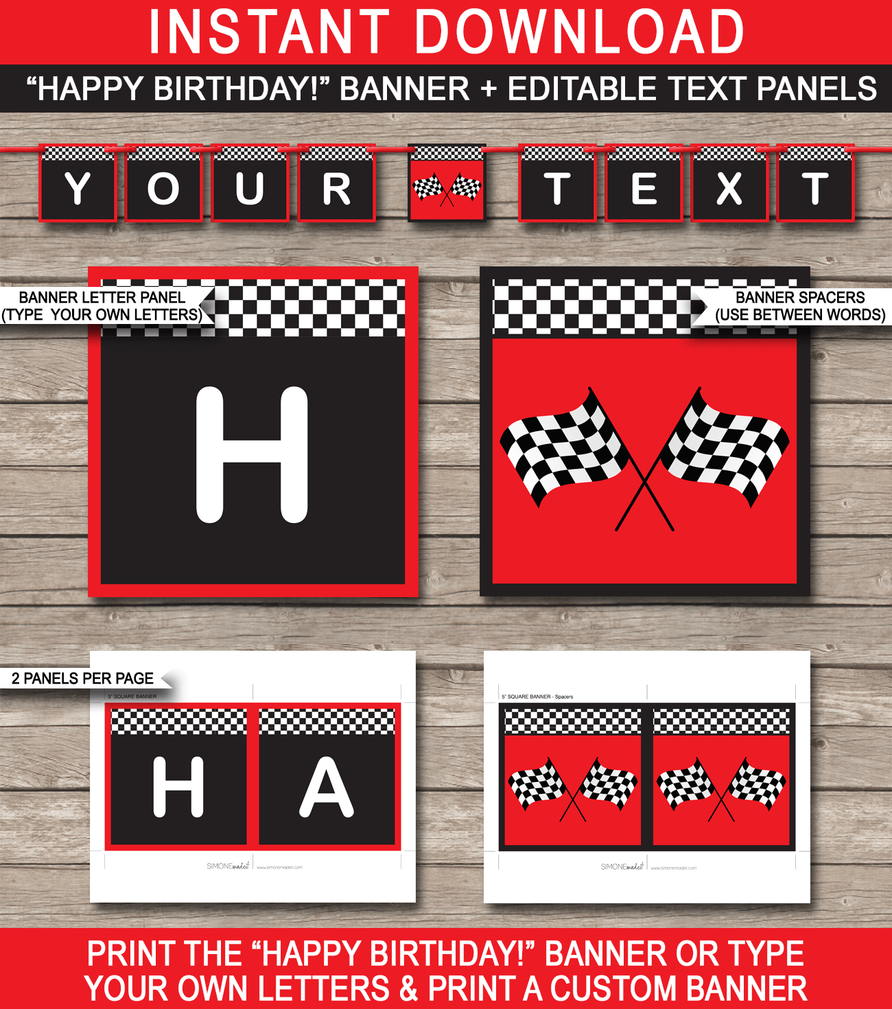 Race Car Party Banner Template – Red Pertaining To Cars Birthday Banner Template