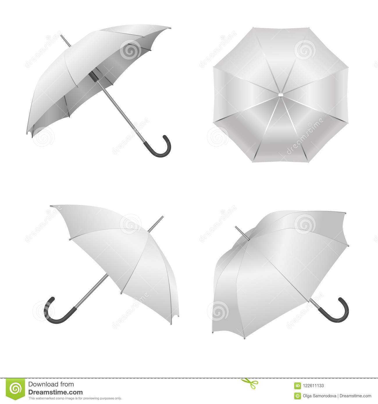 Realistic Detailed 3D White Blank Umbrella Template Mockup Intended For Blank Umbrella Template