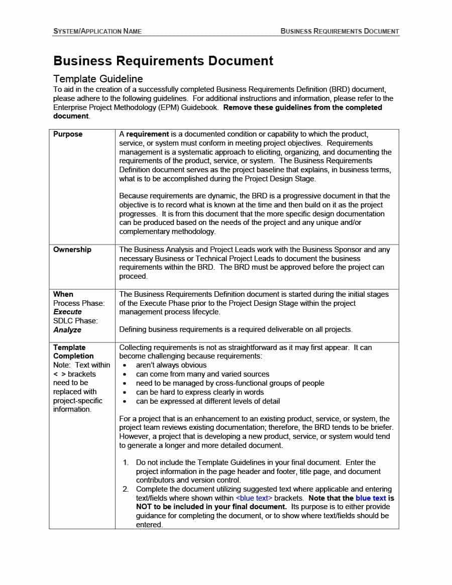 Requirements Document Template - Karan.ald2014 Inside Product Requirements Document Template Word