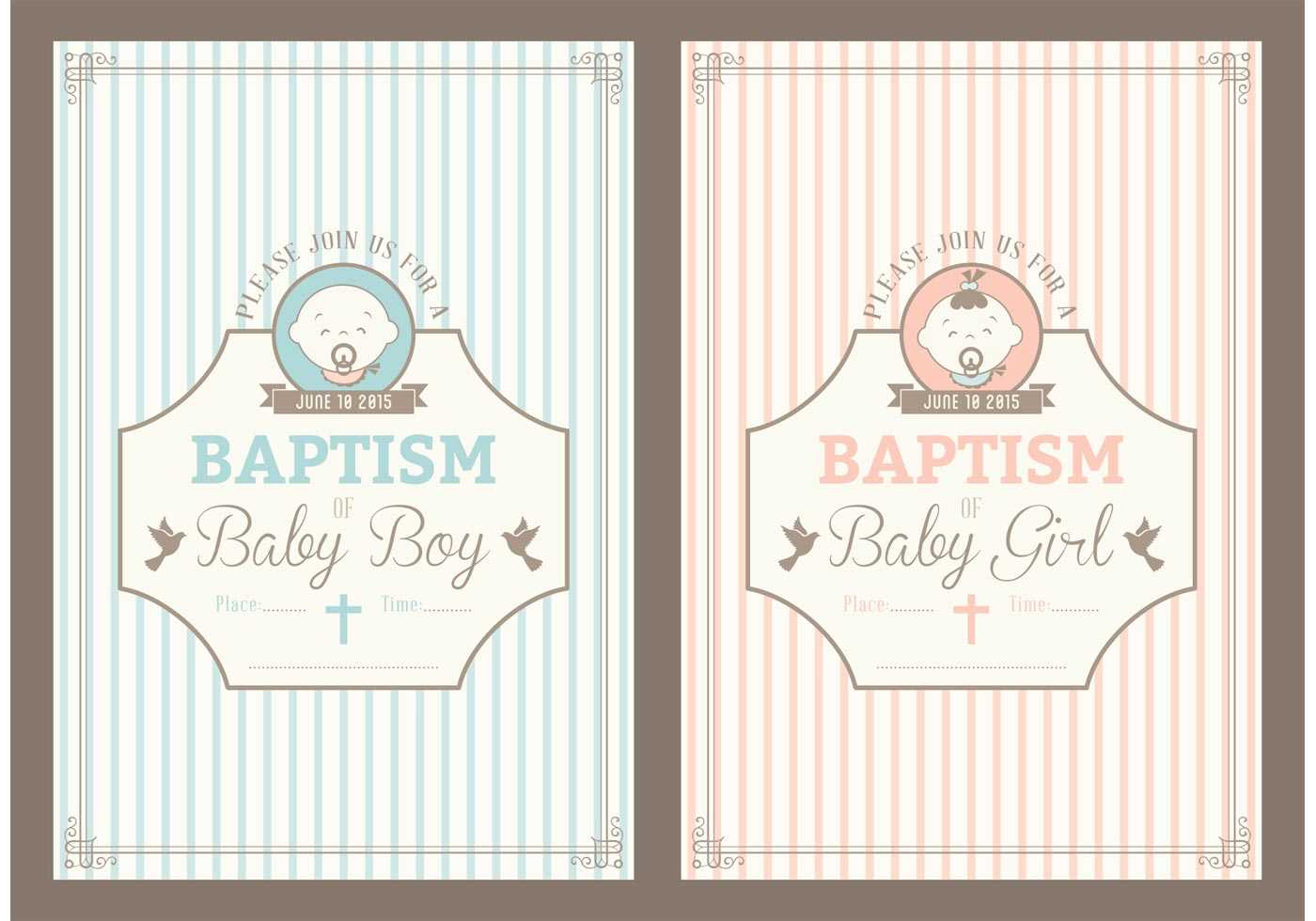 Retro Christening Invitation Vector Cards – Download Free Within Christening Banner Template Free