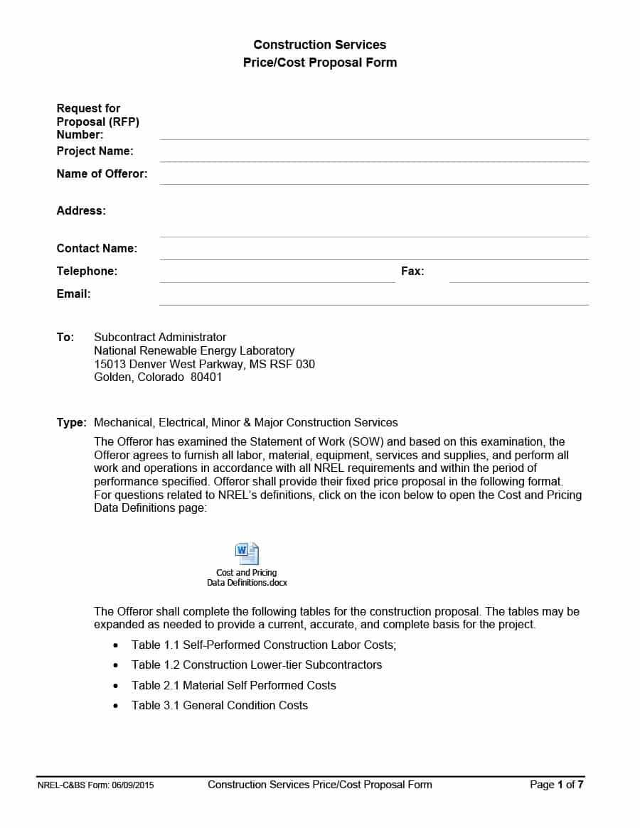 Rfp Mplate Word Suyhi Margarethaydon Com Sample Request For Within Free Construction Proposal Template Word