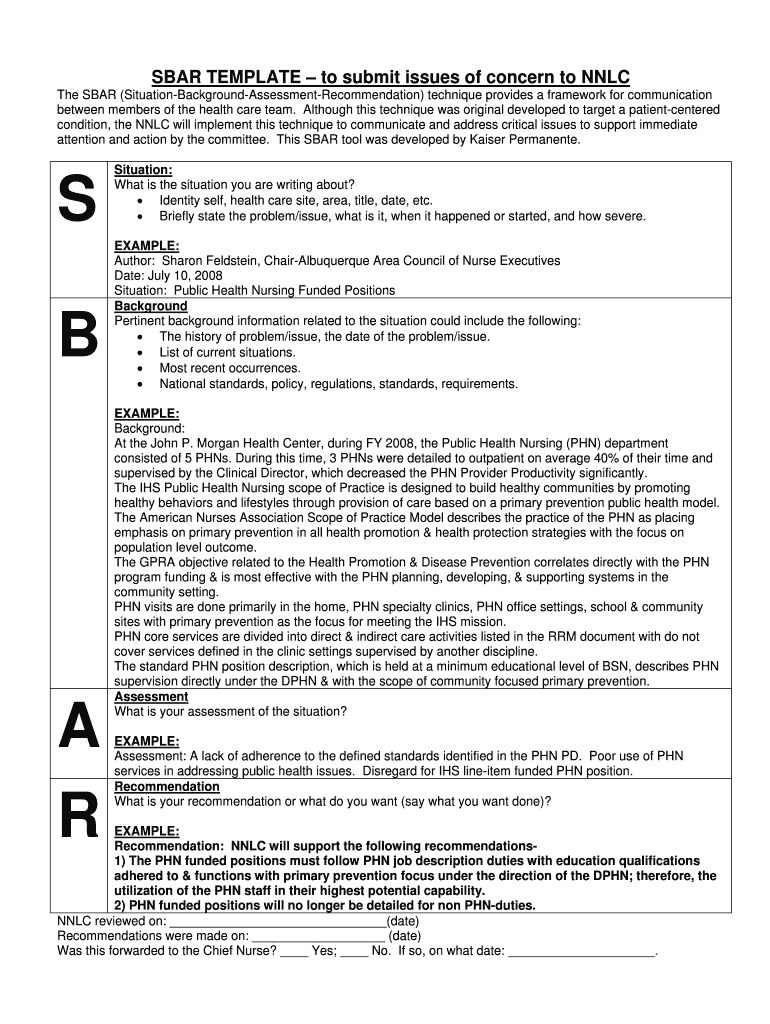 Sbar Template - Fill Online, Printable, Fillable, Blank With Regard To Sbar Template Word