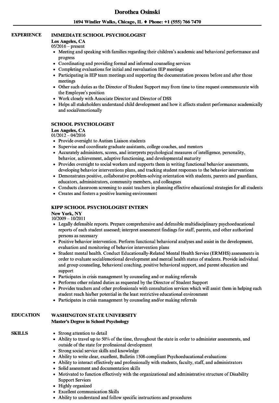 School Psychologist Resume Samples   Velvet Jobs With Regard To School Psychologist Report Template