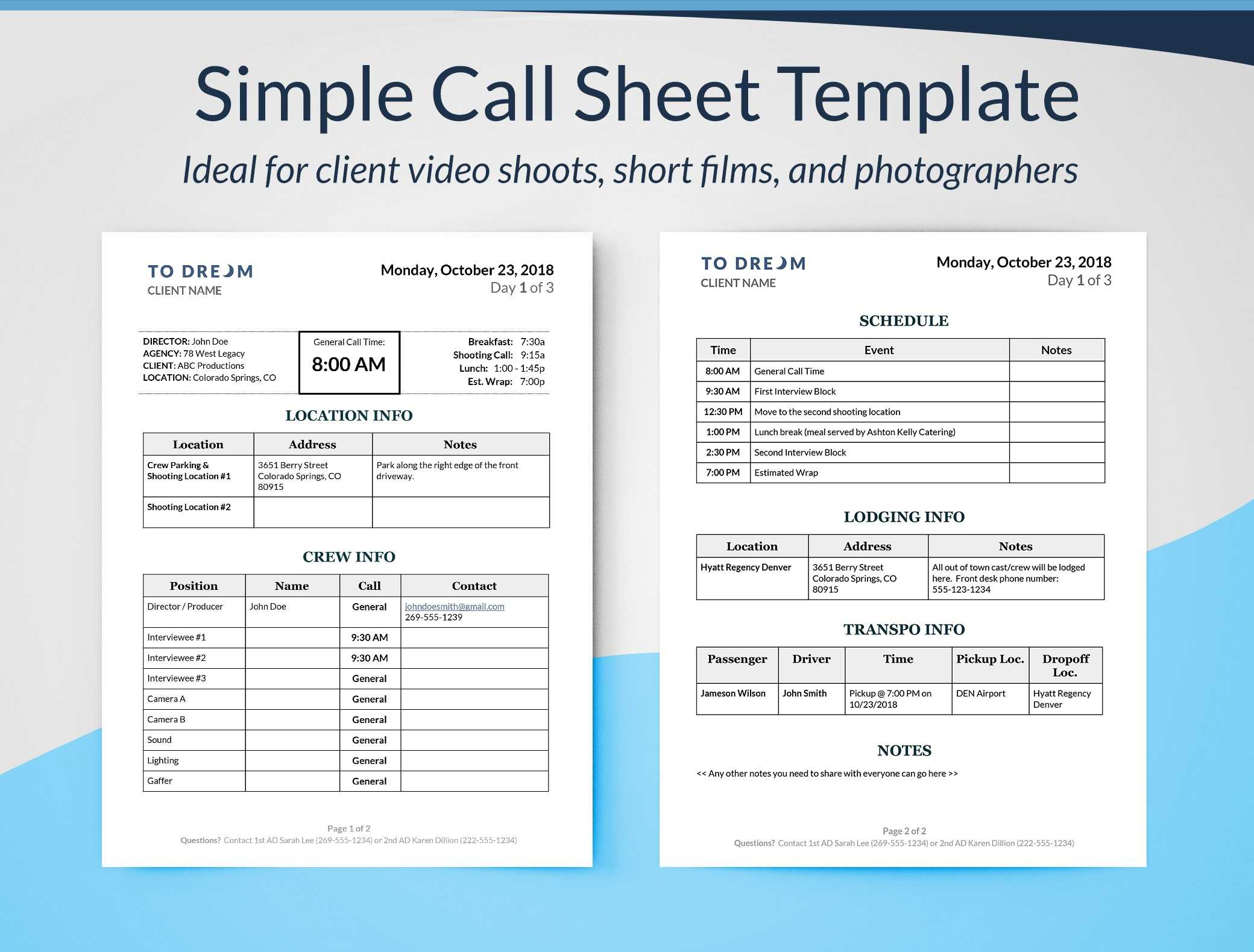 Simple Call Sheet Template Word Doc   Sethero For Film Call Sheet Template Word