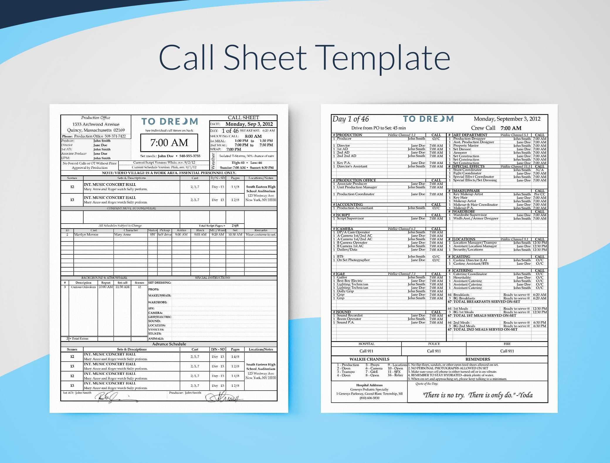 Simple Call Sheet Template Word Doc   Sethero Within Film Call Sheet Template Word