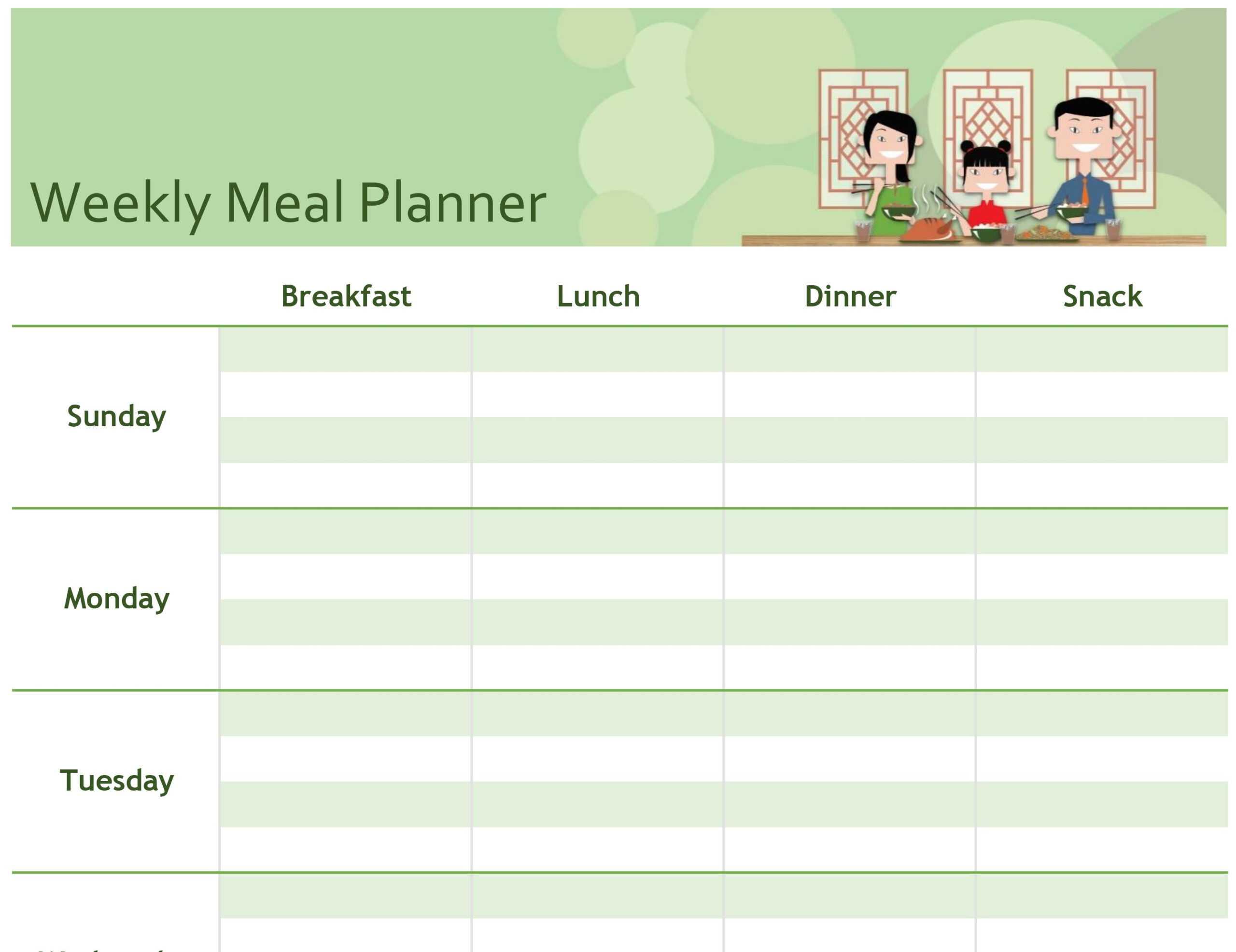 Simple Meal Planner Regarding Weekly Meal Planner Template Word