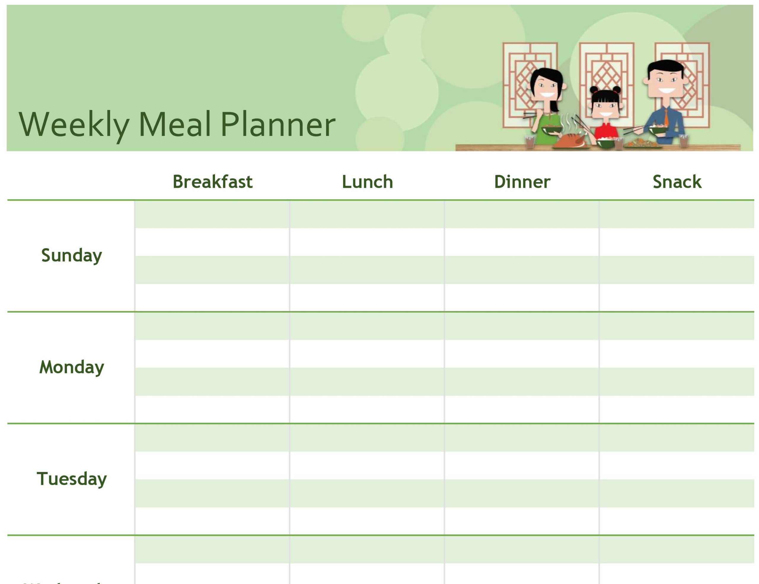 Simple Meal Planner Within Menu Planning Template Word