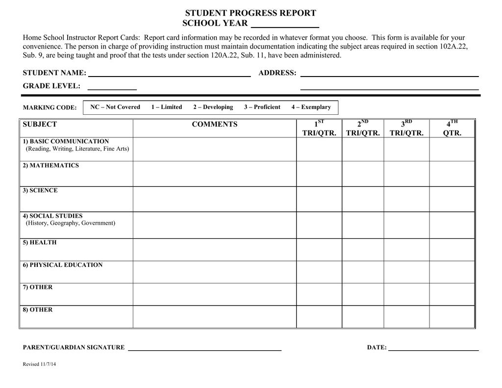 Student Progress Report School Year Intended For School Progress Report Template