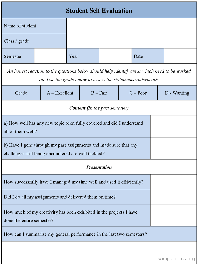 Student Self Evaluation Form : Sample Forms Throughout Student Feedback Form Template Word