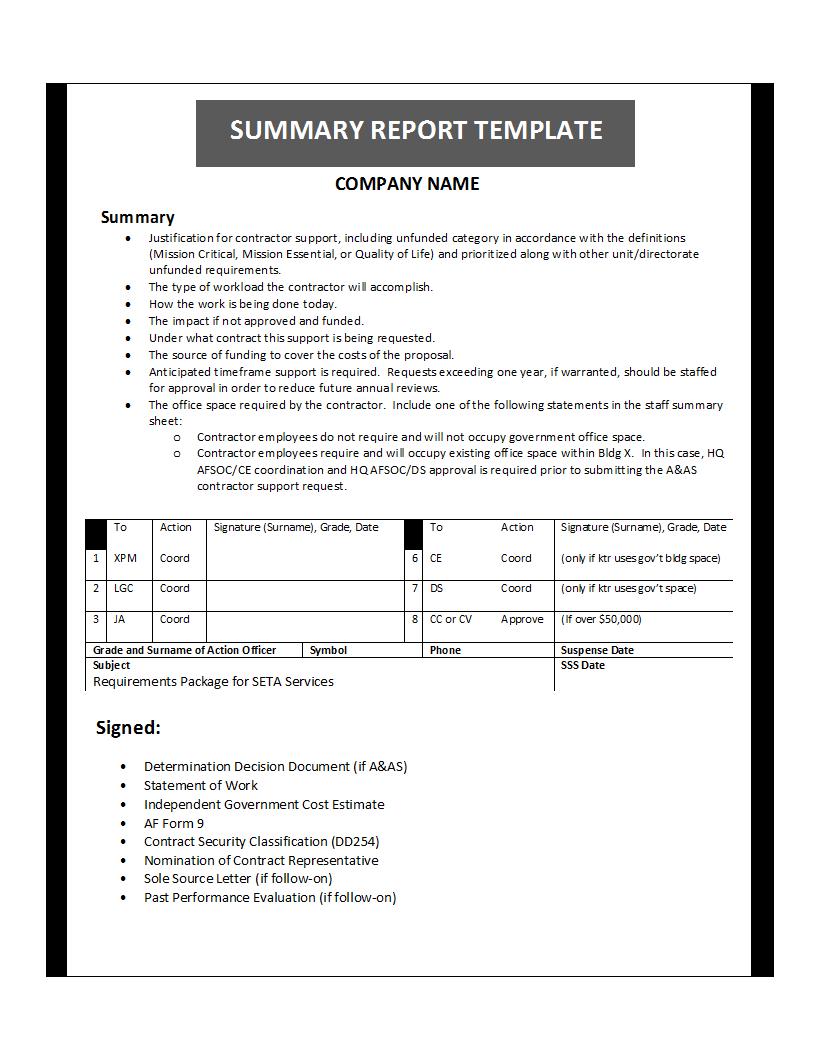 Summary Report Template Regarding Template For Summary Report