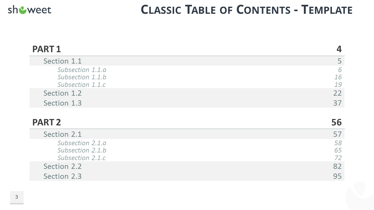Table Of Content Templates For Powerpoint And Keynote Throughout Microsoft Word Table Of Contents Template