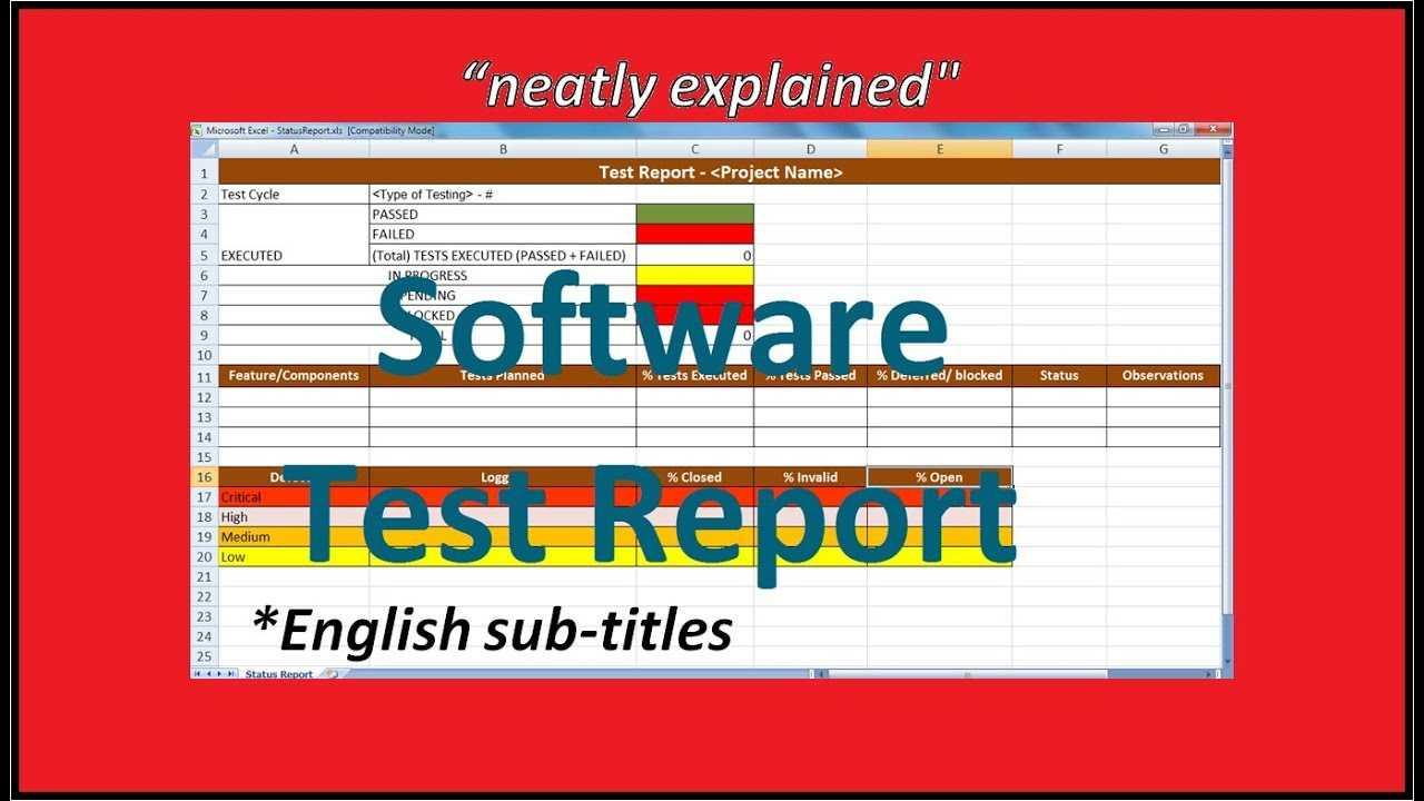 Test Report In Software Testing   Testing Status Reports For Testing Weekly Status Report Template