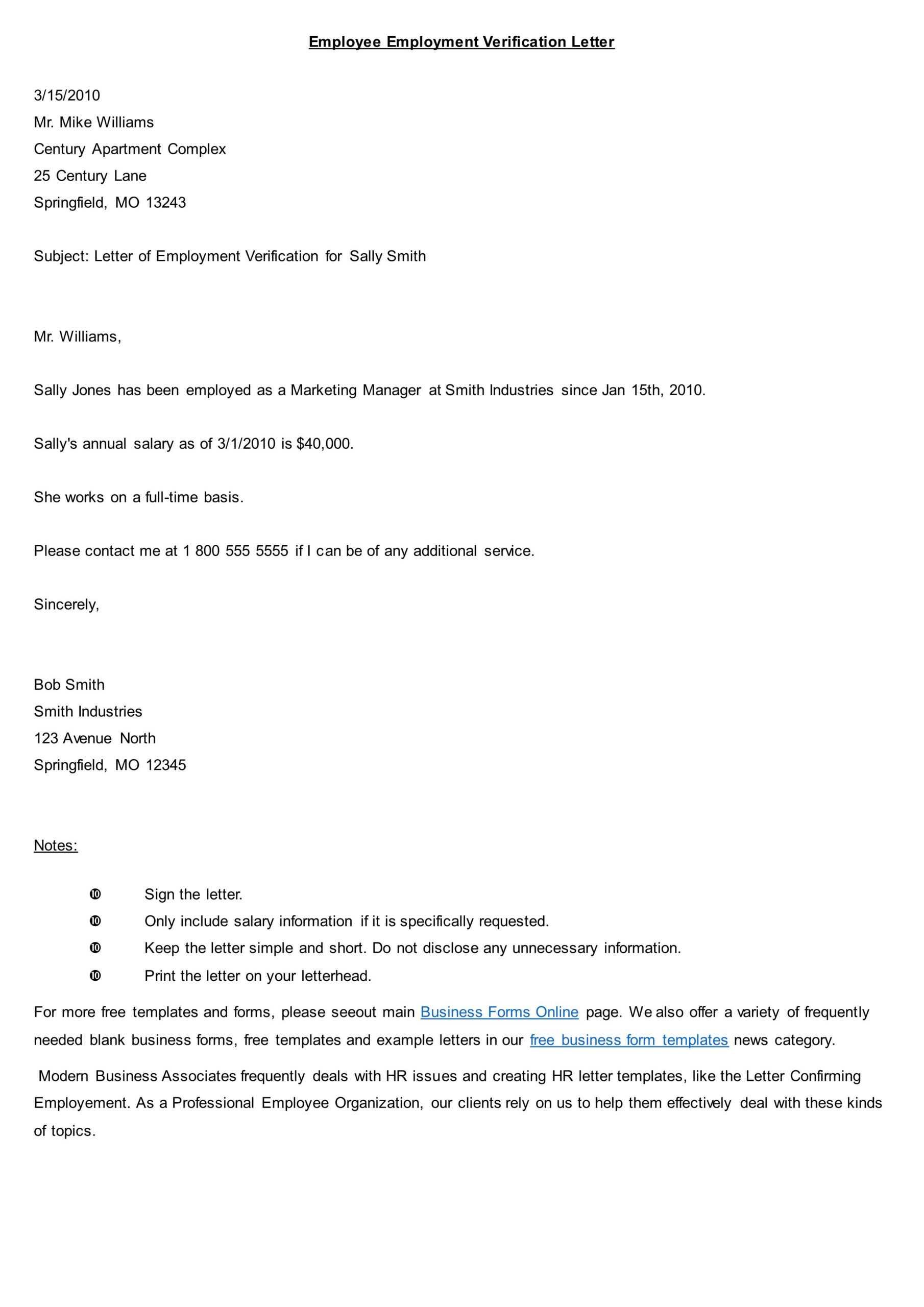 Top 10 Employment Verification Letter Form Template Intended For Employment Verification Letter Template Word