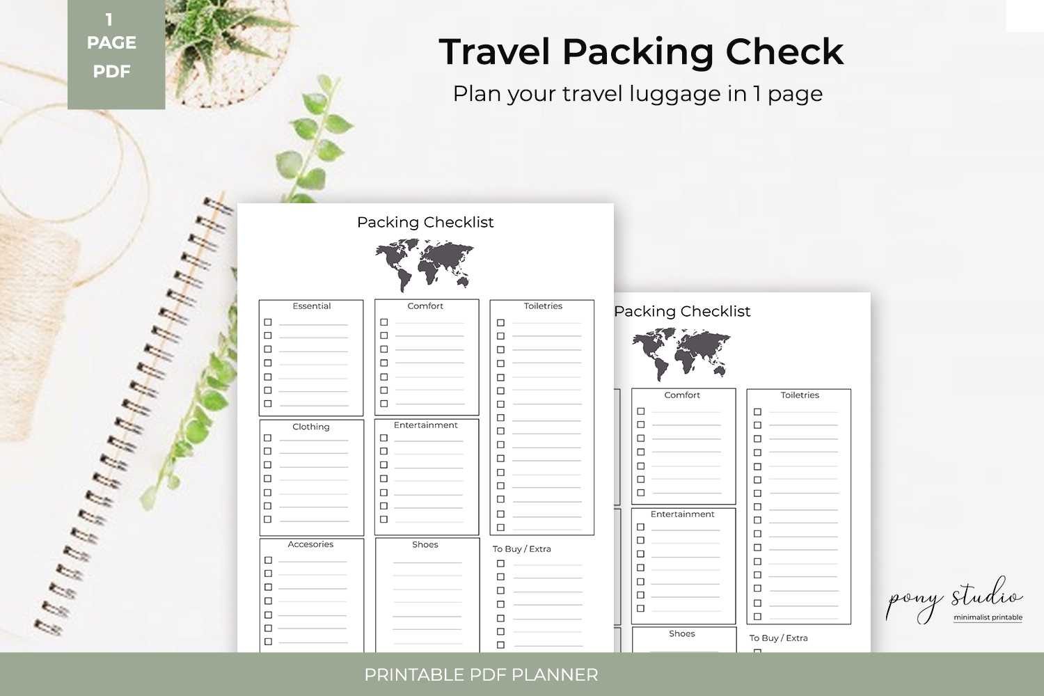 Travel Packing List Template | A4  Pdf Printable Inside Blank Packing List Template