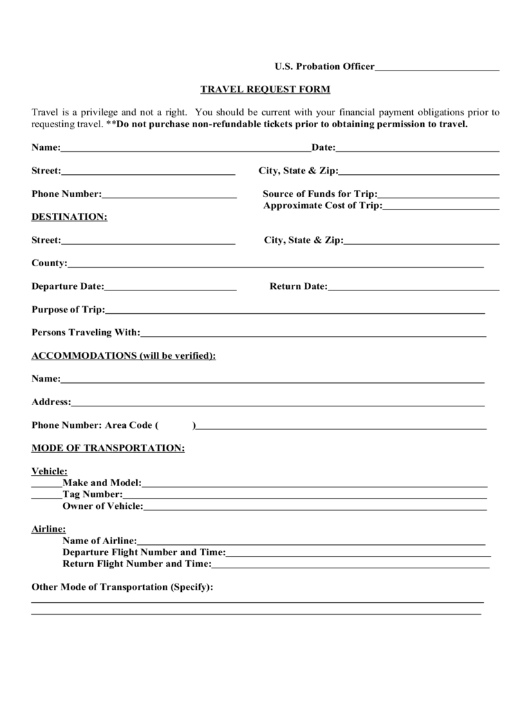 Travel Request Form Template Word Professional Plan Templates