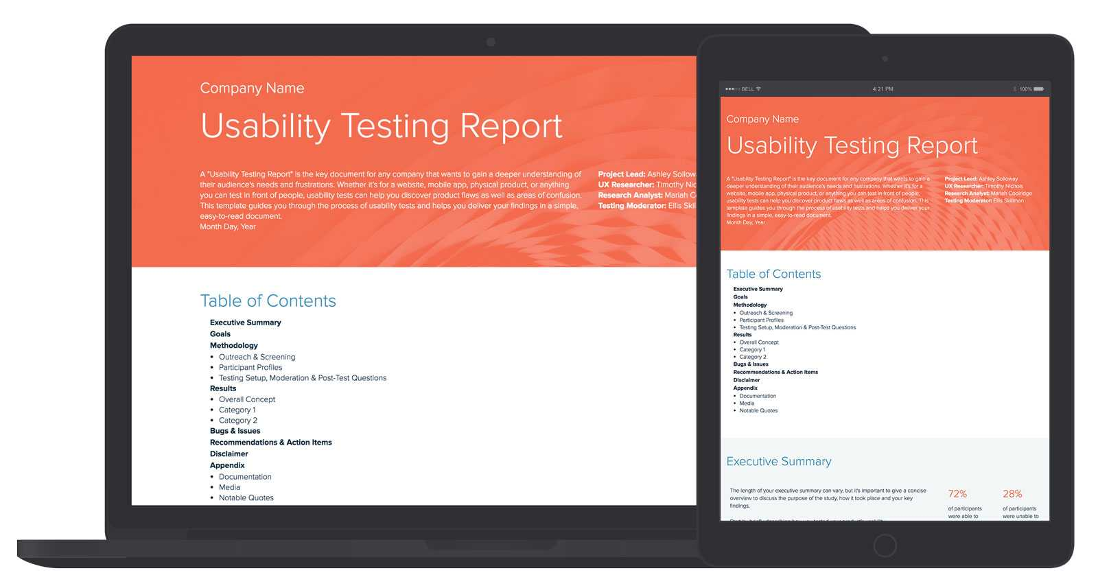 Usability Testing Report Template And Examples | Xtensio For Test Result Report Template