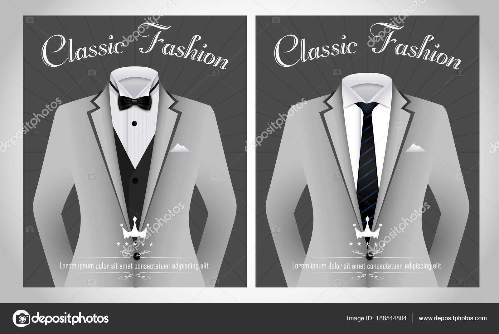 Vector Illustration Business Suit Template Black Tie White Inside Tie Banner Template