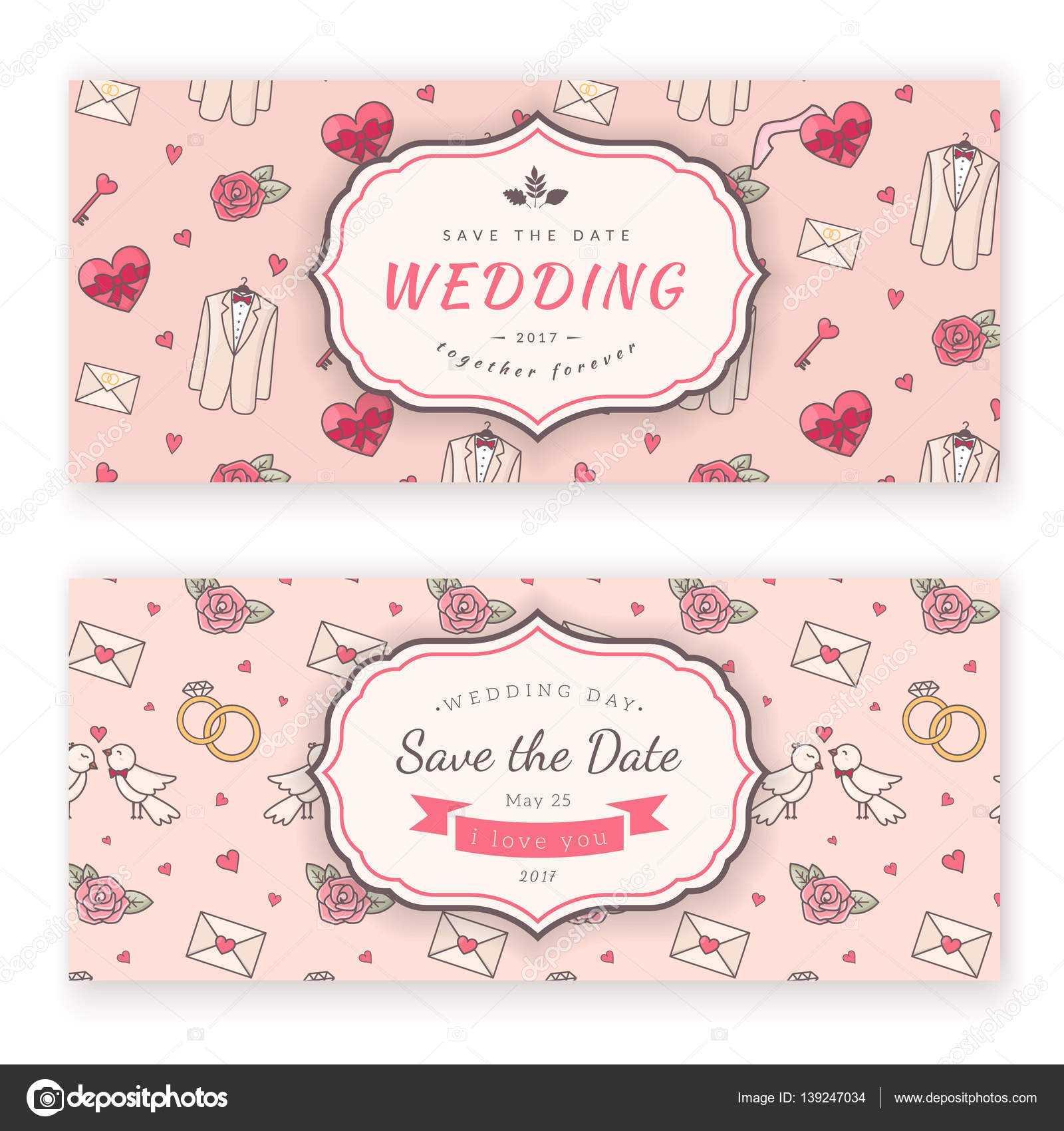 Wedding Banner Template. — Stock Vector © Chuhail #139247034 Within Wedding Banner Design Templates